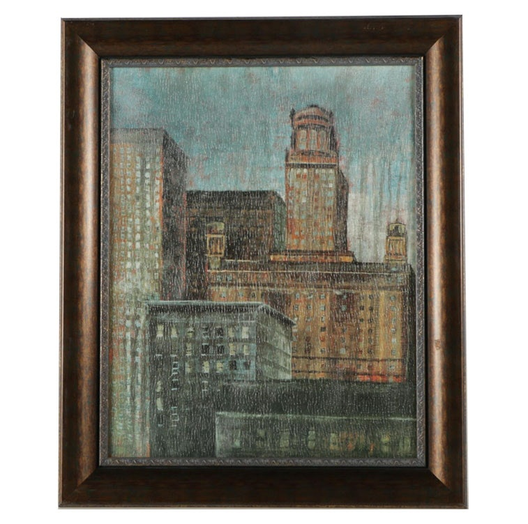 Offset Lithograph on Board of Skyscrapers