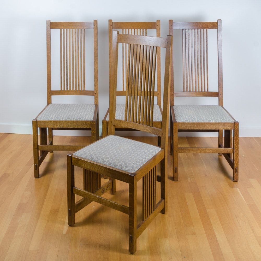 Set of Mission  Style Oak  Dining Chairs by Stickley