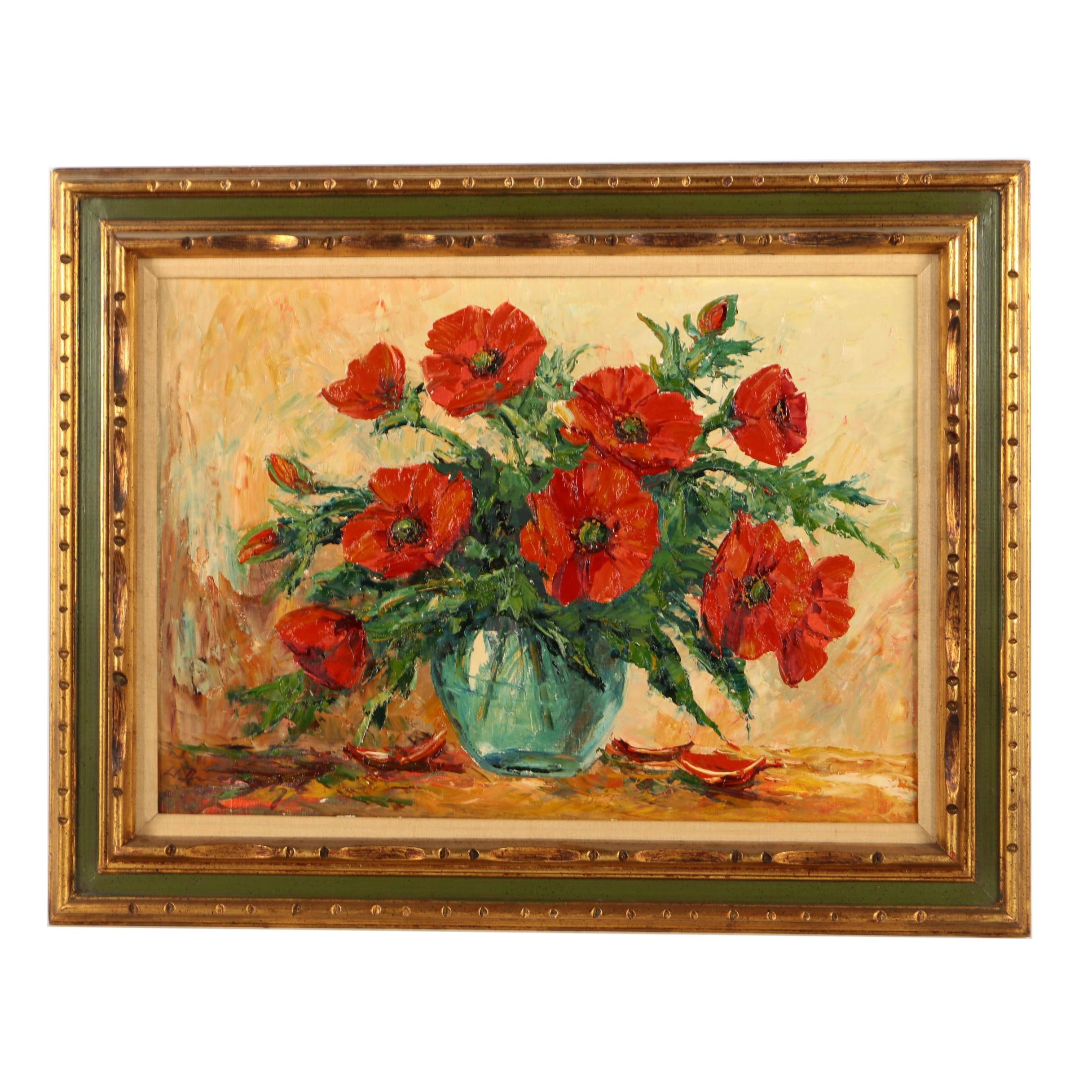 Oil Painting on Canvas of a Floral Still Life of Poppies