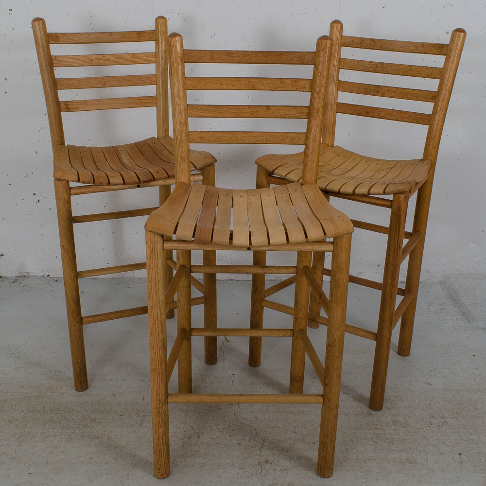 Three Ladder Back Oak Counter Chairs