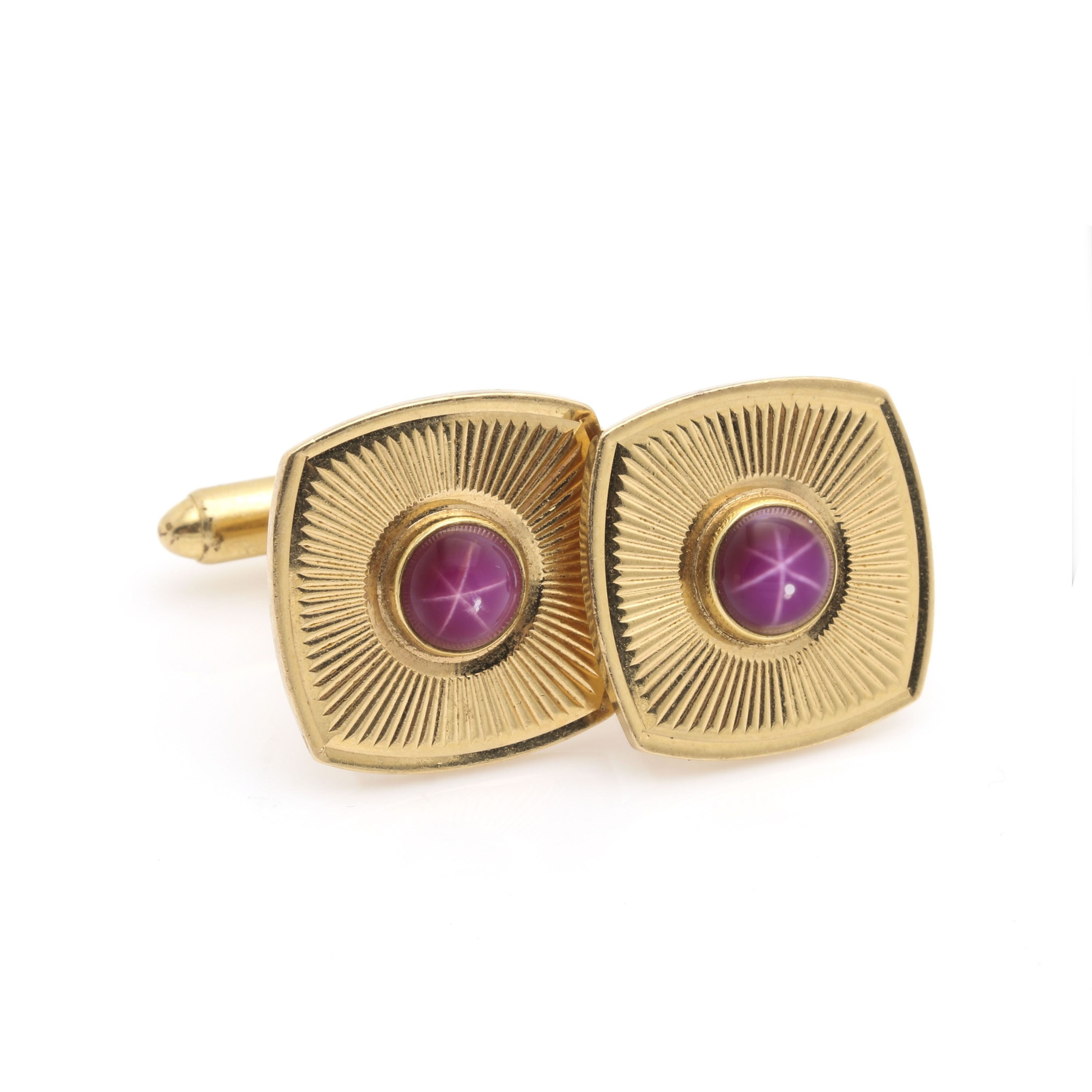 14K Yellow Gold Ruby Cuff Links