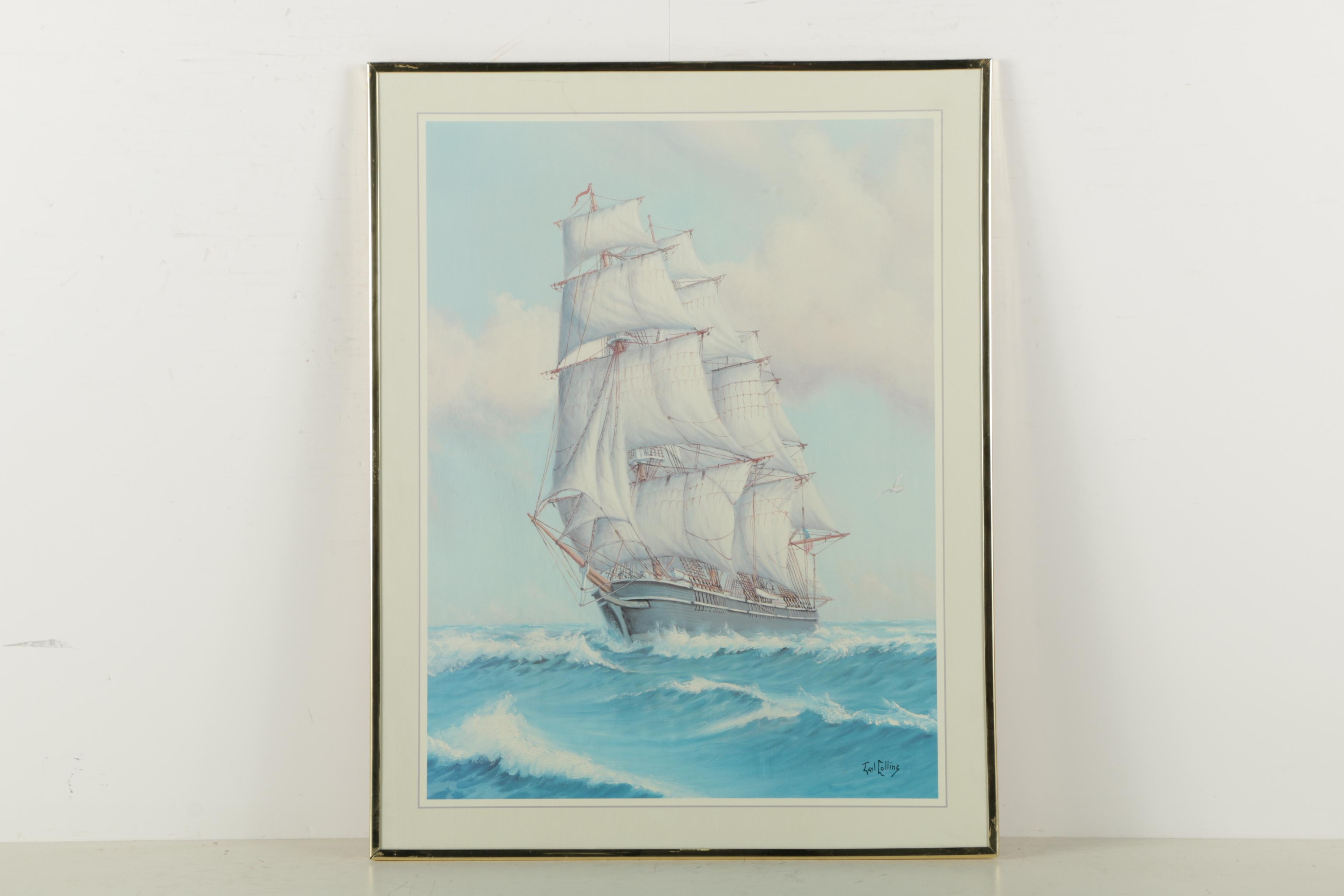 Signed Offset Lithograph of a Ship at Sail