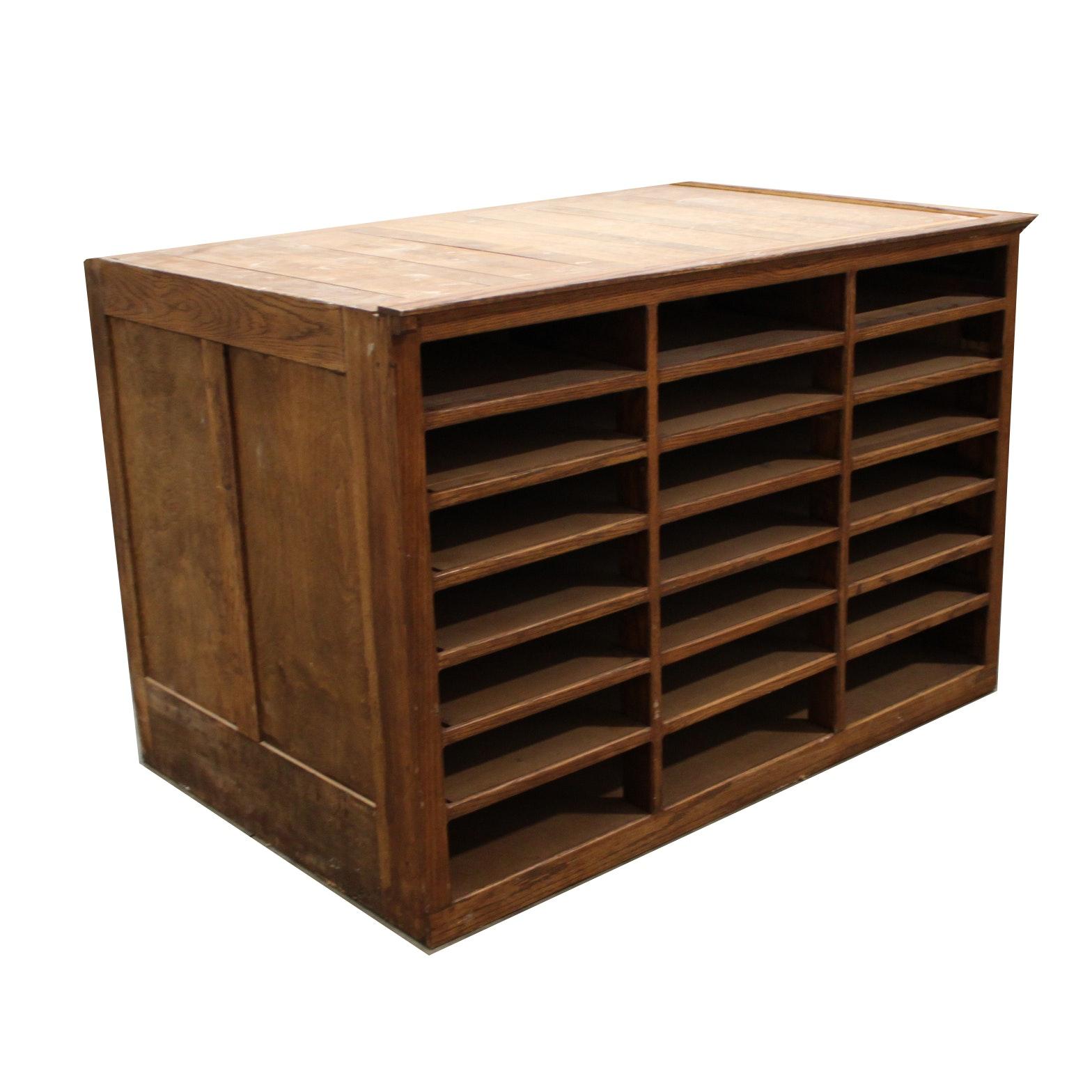Vintage Oak Wood Mail Organizer