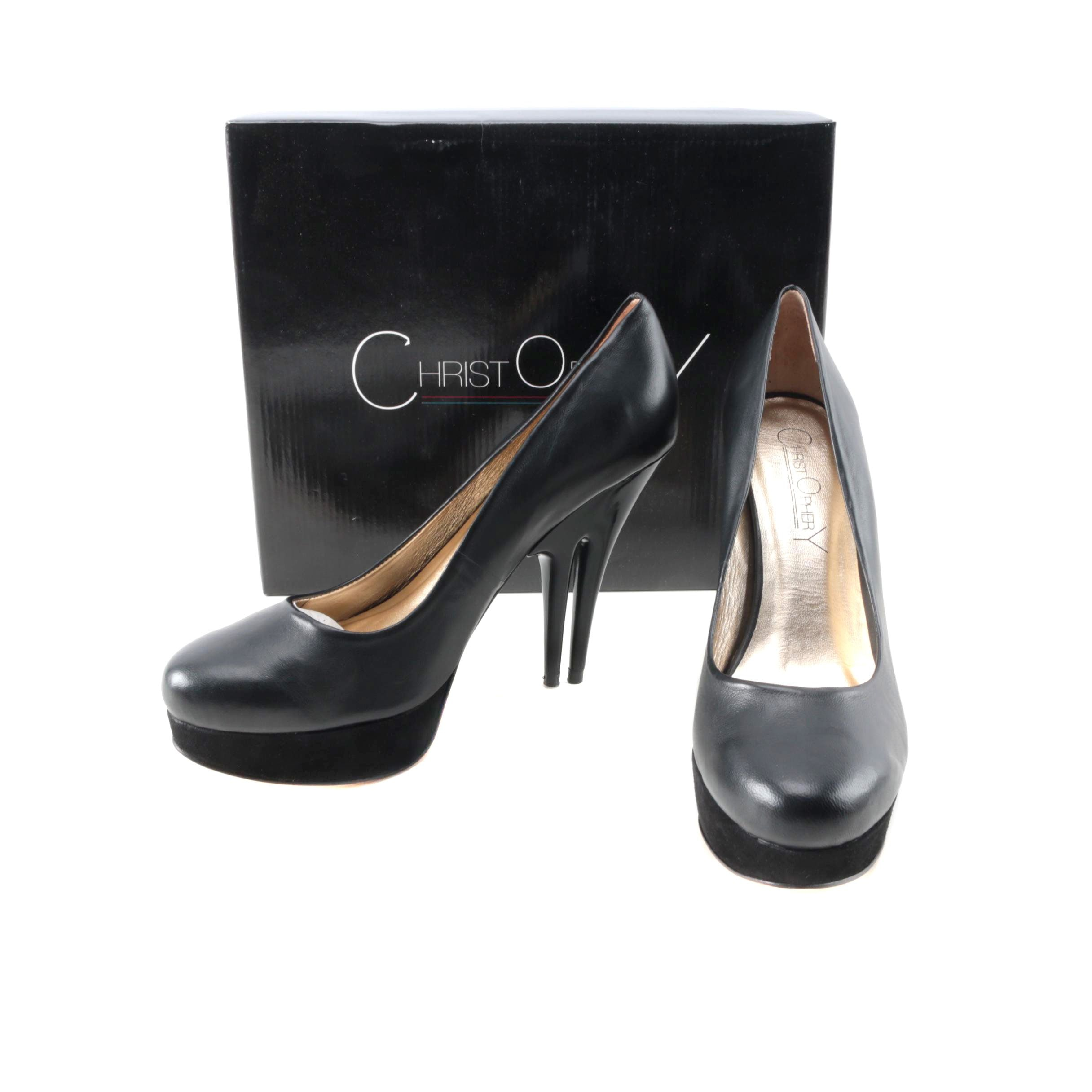 Christopher Coy Collection Prototype Heels in Black Leather