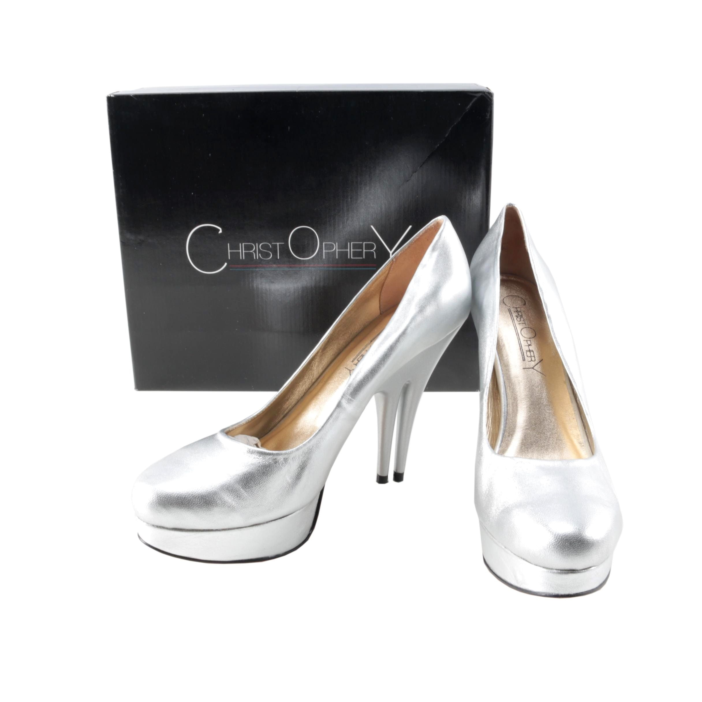 Christopher Coy Collection Prototype Heels in Silver Metallic Leather