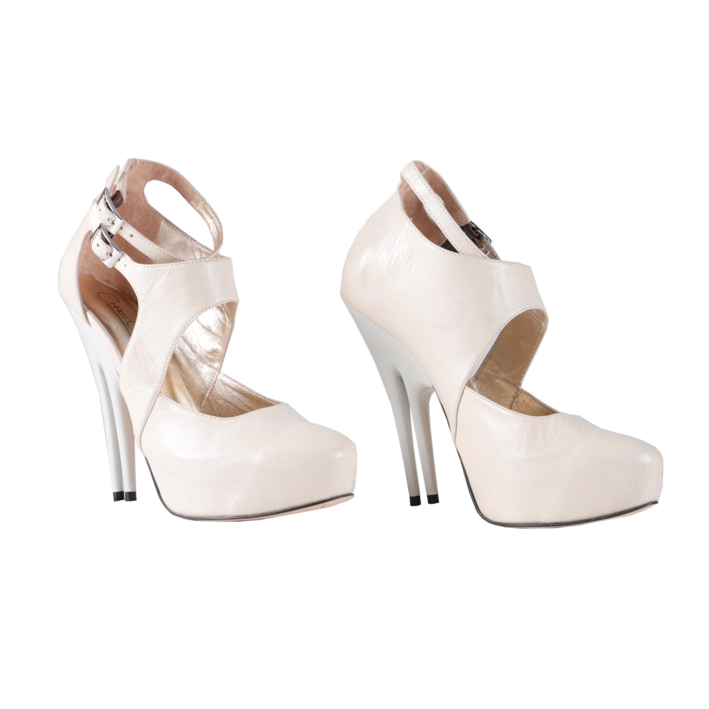 Christopher Coy Collection Prototype Heels in Off-White Leather