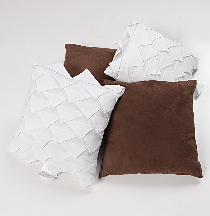 Decorative White and Brown Throw Pillows