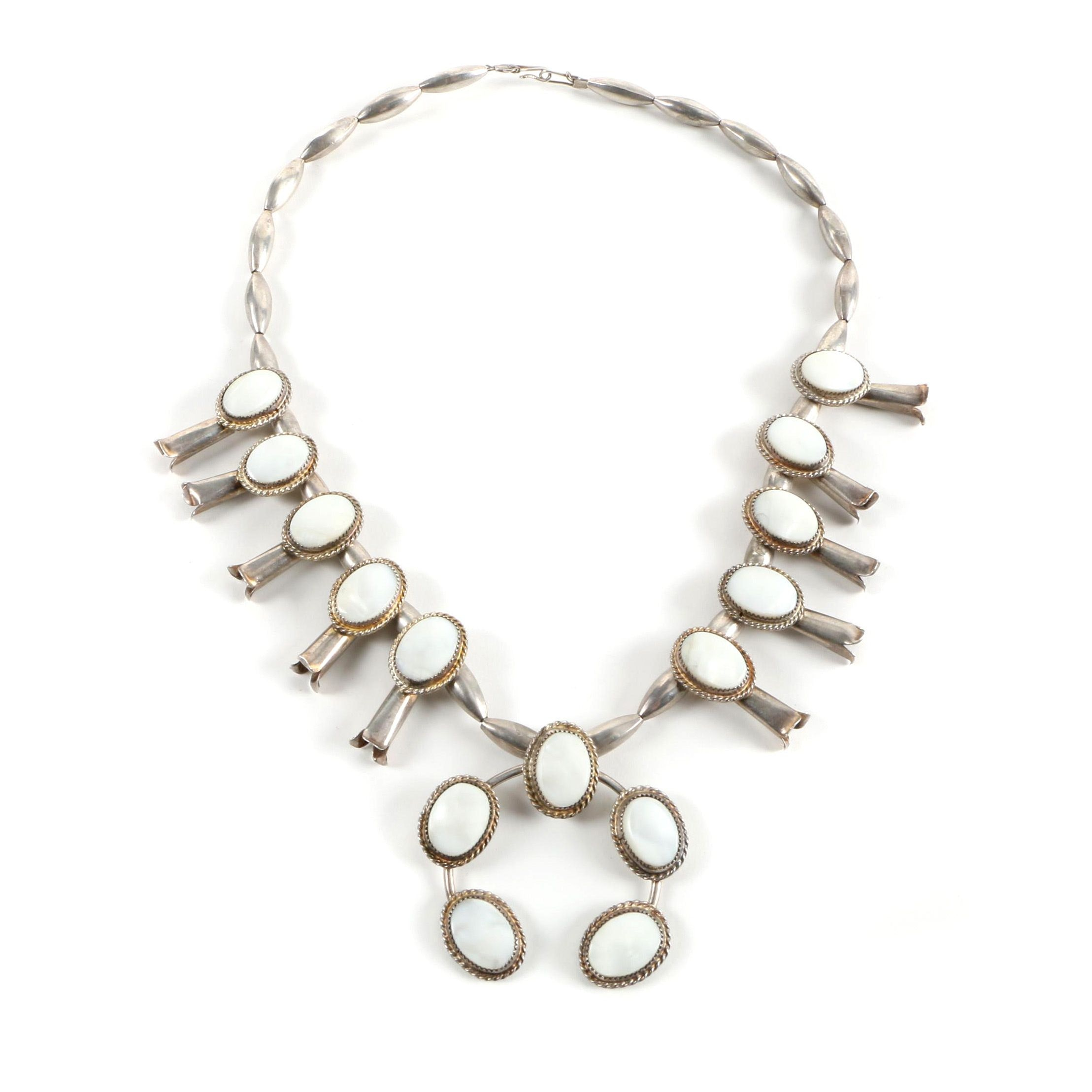 Sterling Silver Mother of Pearl Squash Blossom Necklace