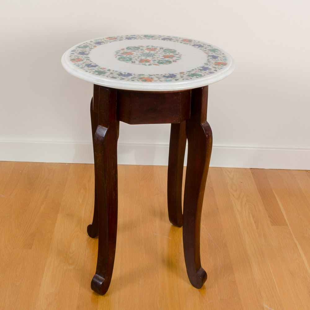 Pietra Dura Table Top with Teak Stand