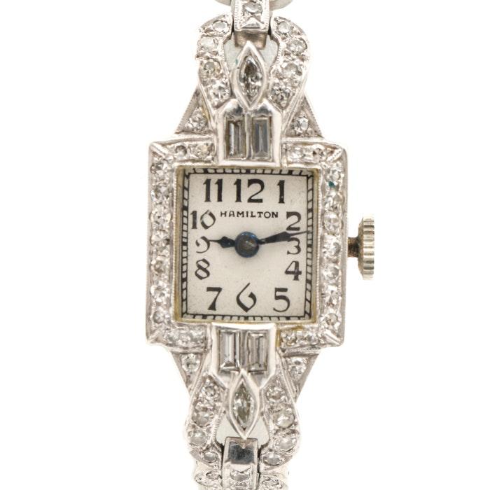Hamilton Platinum 1.35 CTW Diamond Bracelet Wristwatch