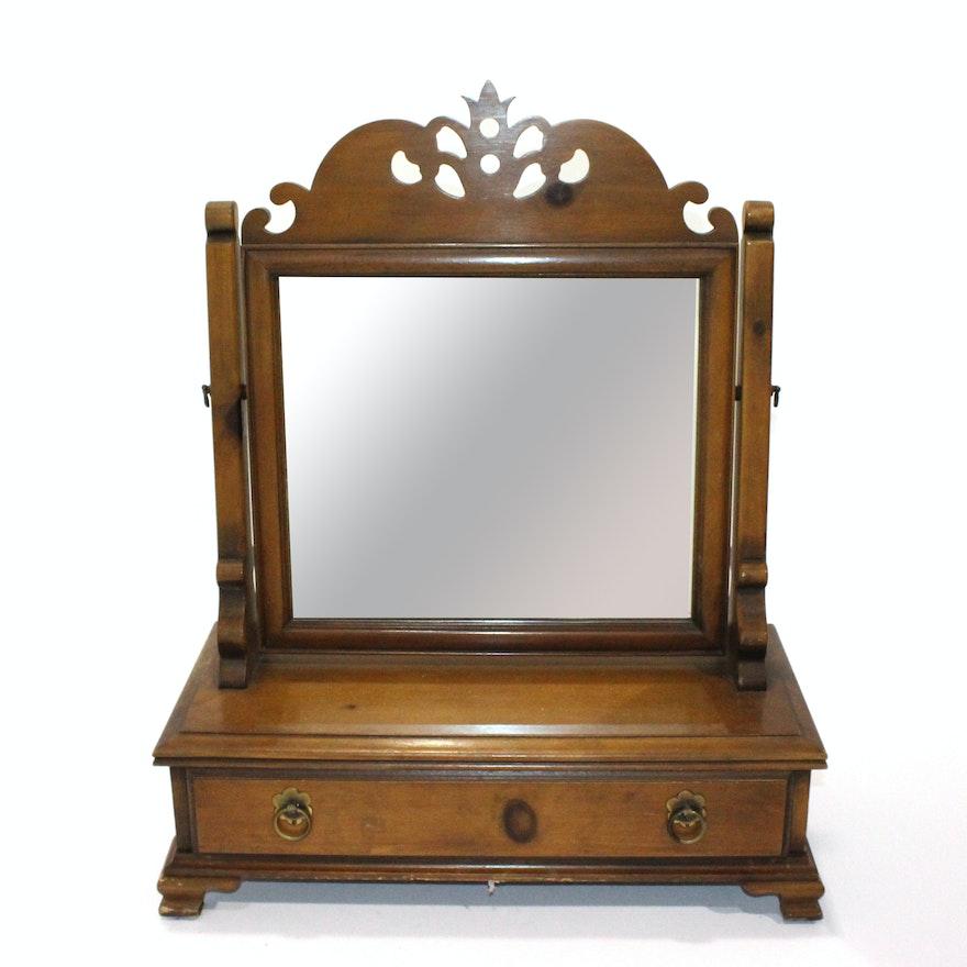 Vintage Wooden Vanity Mirror