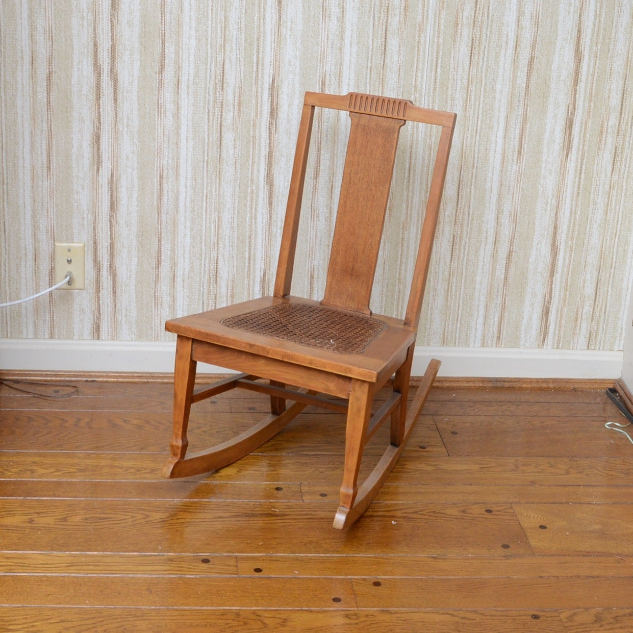 Oak Child's Rocking Chair with Cane Seat