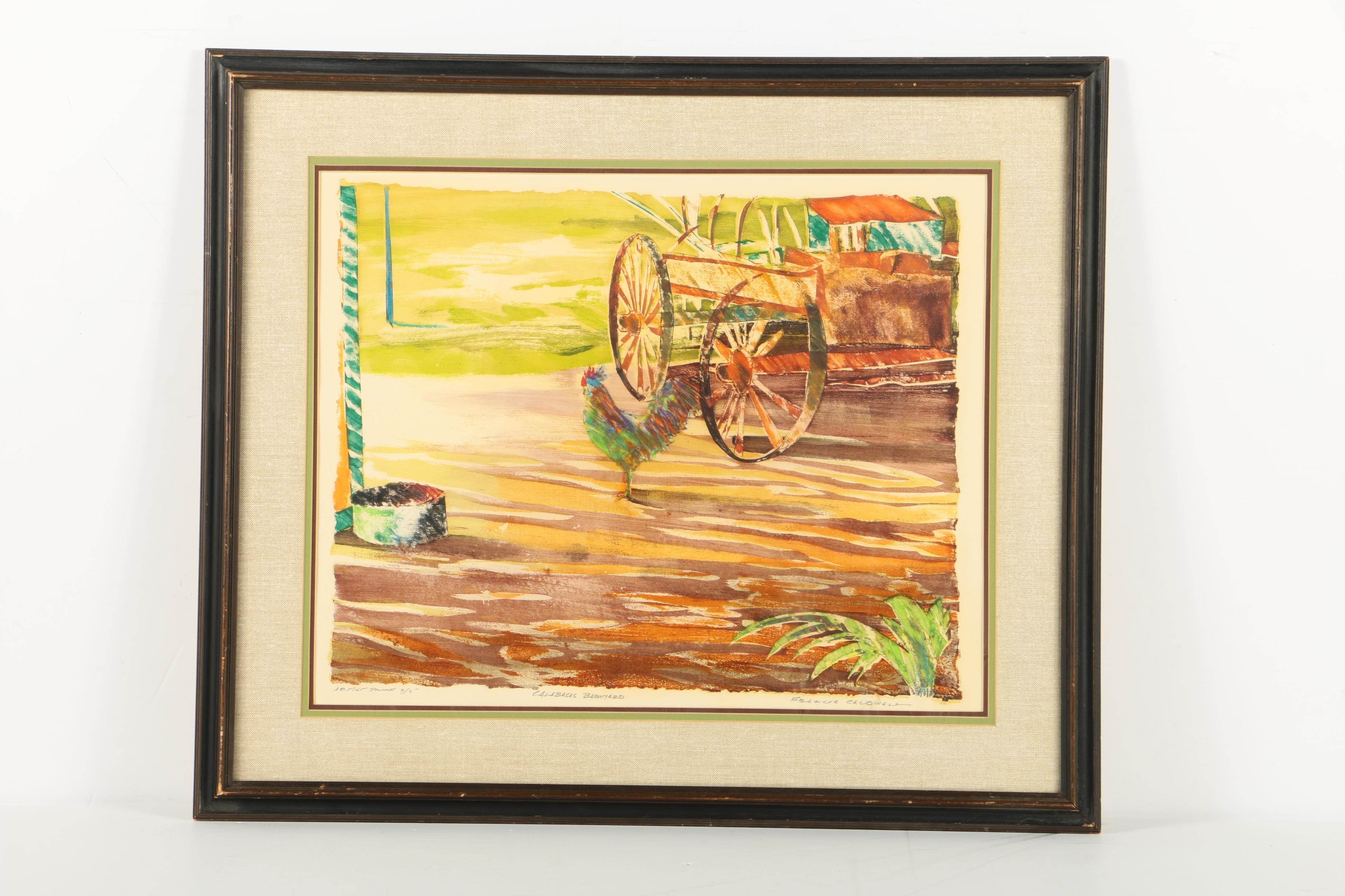 """Francis Caldwell Artist Proof Limited Edition Serigraph """"Calabasas Barnyard"""""""