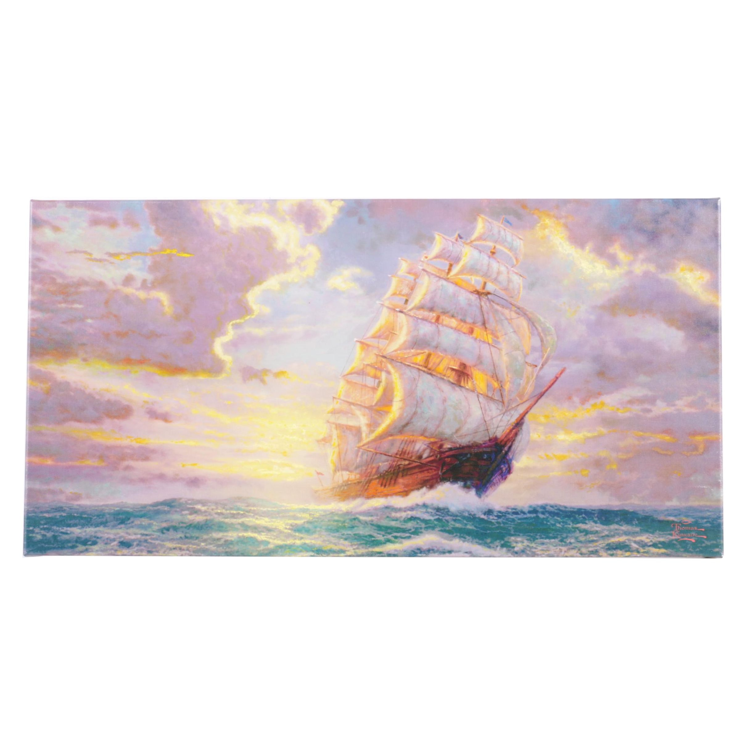 "Giclee on Canvas After Thomas Kinkade ""Courageous Voyage"""