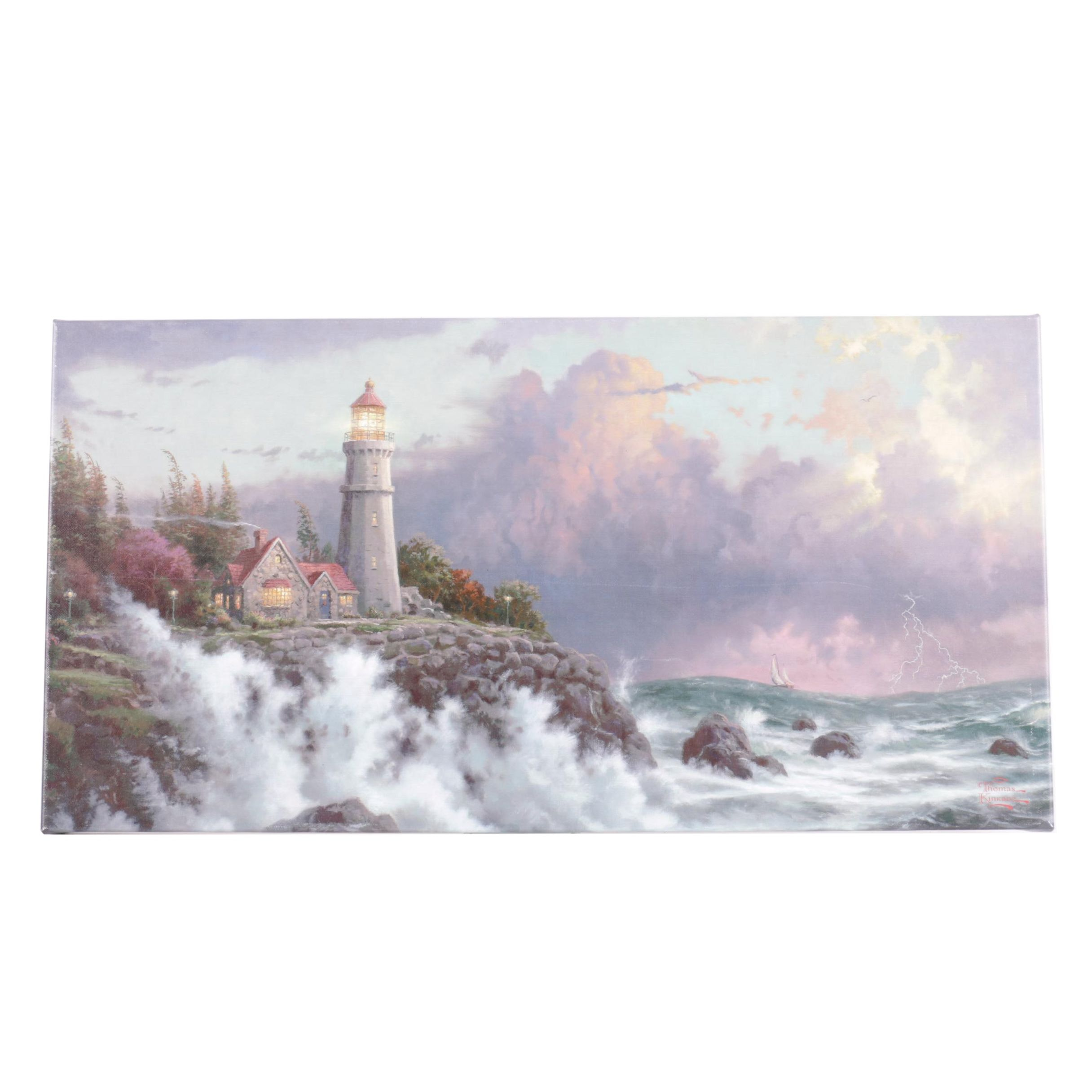 "Giclee on Canvas After Thomas Kinkade ""Conquering the Storms"""