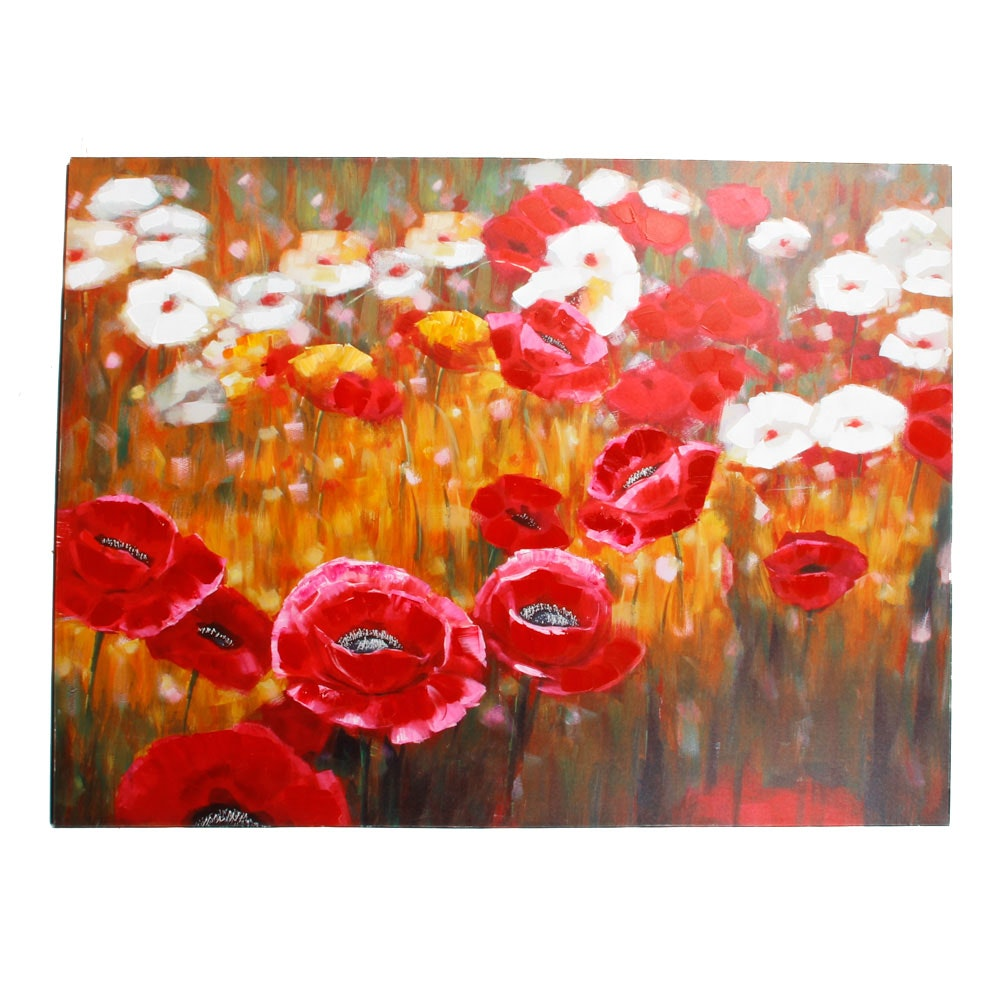 Giclee Print on Canvas After Floral Painting