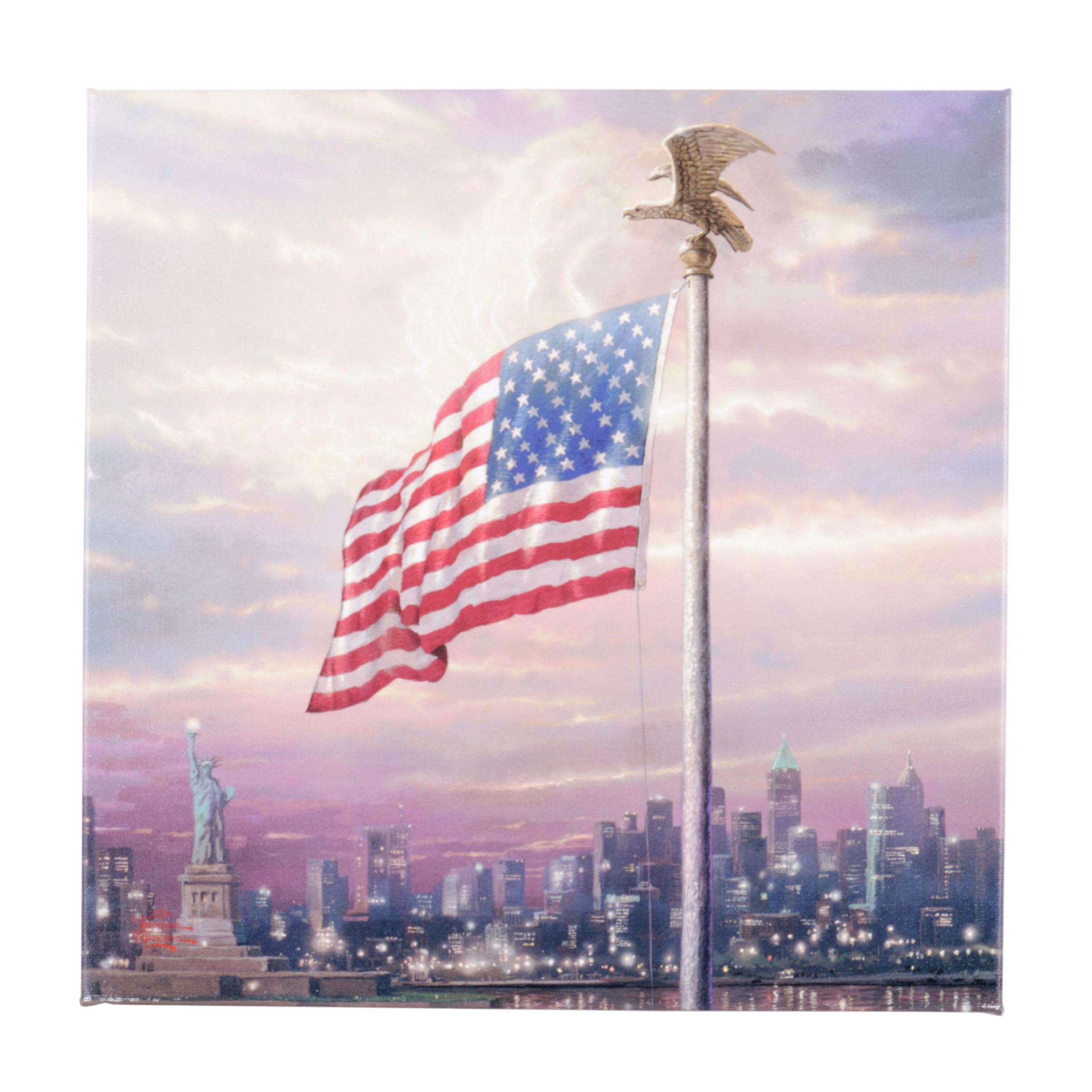 "Giclee on Canvas After Thomas Kinkade ""The Light of Freedom"""