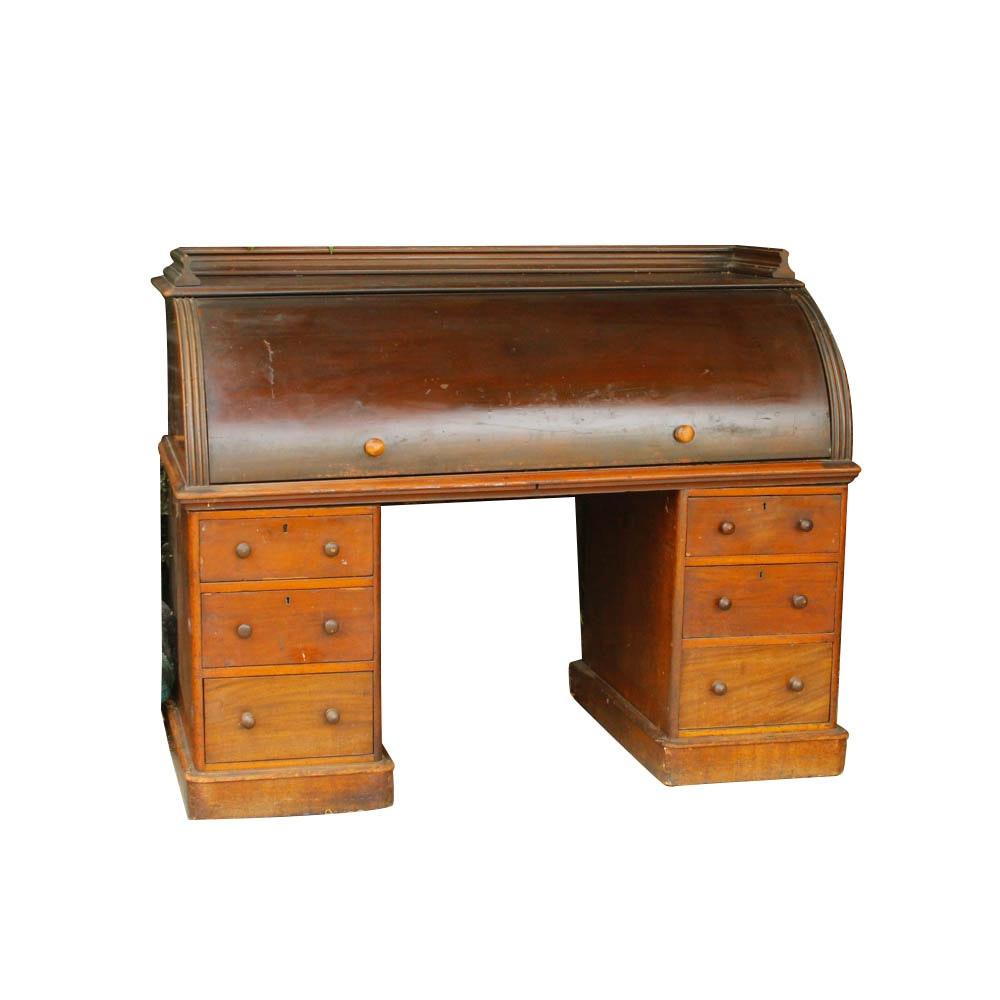 Antique English Mahogany Cylinder Desk