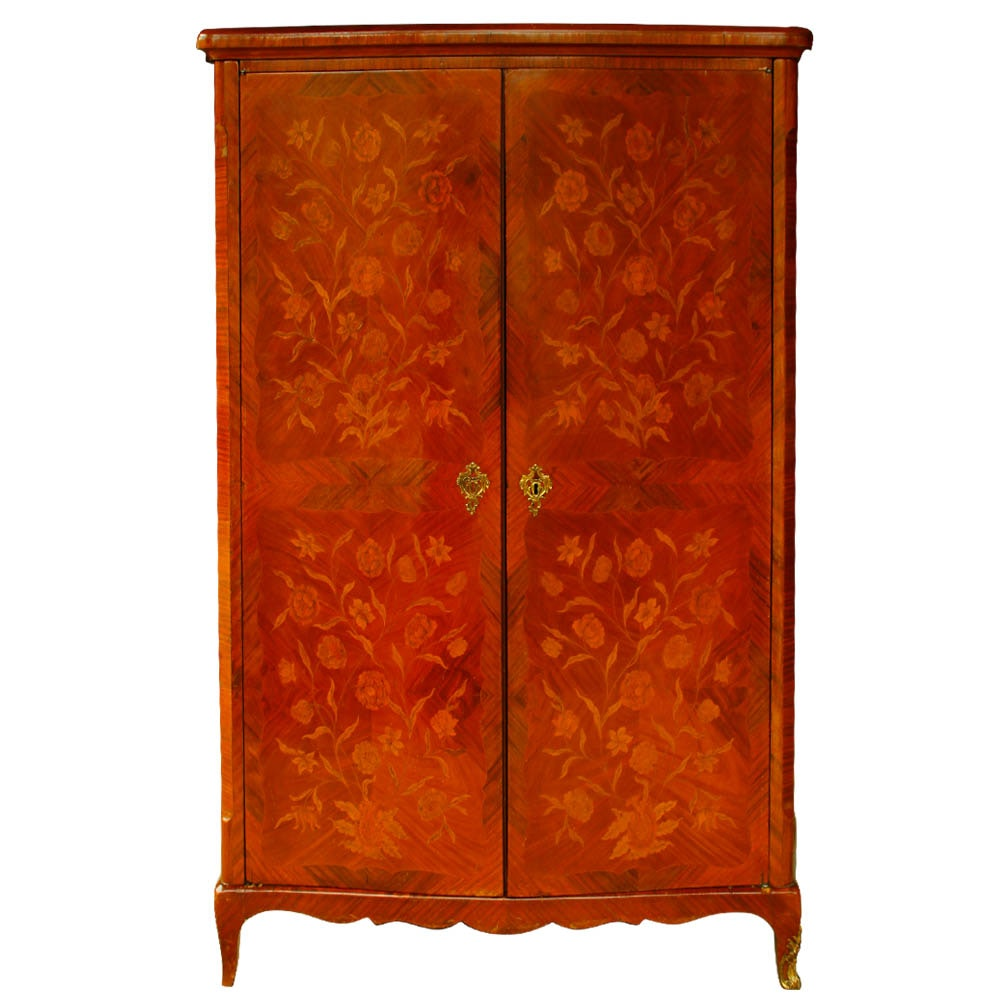 Antique French Marquetry Kingwood Linen Press