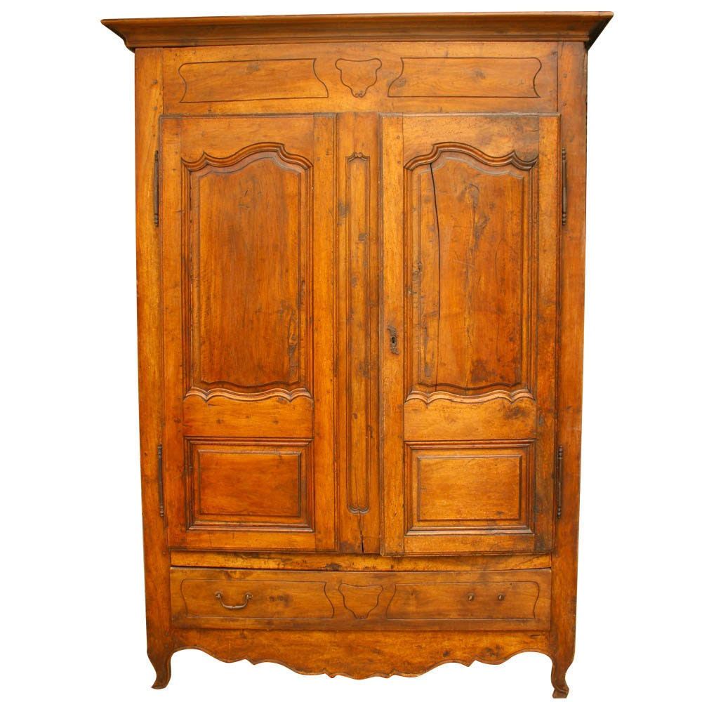 Antique French Provincial Beech Armoire