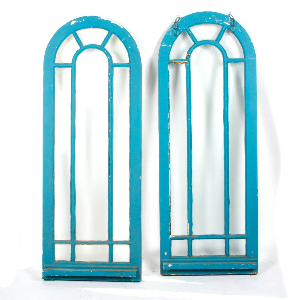 Antique Wood-Framed Arched Sidelight Windows