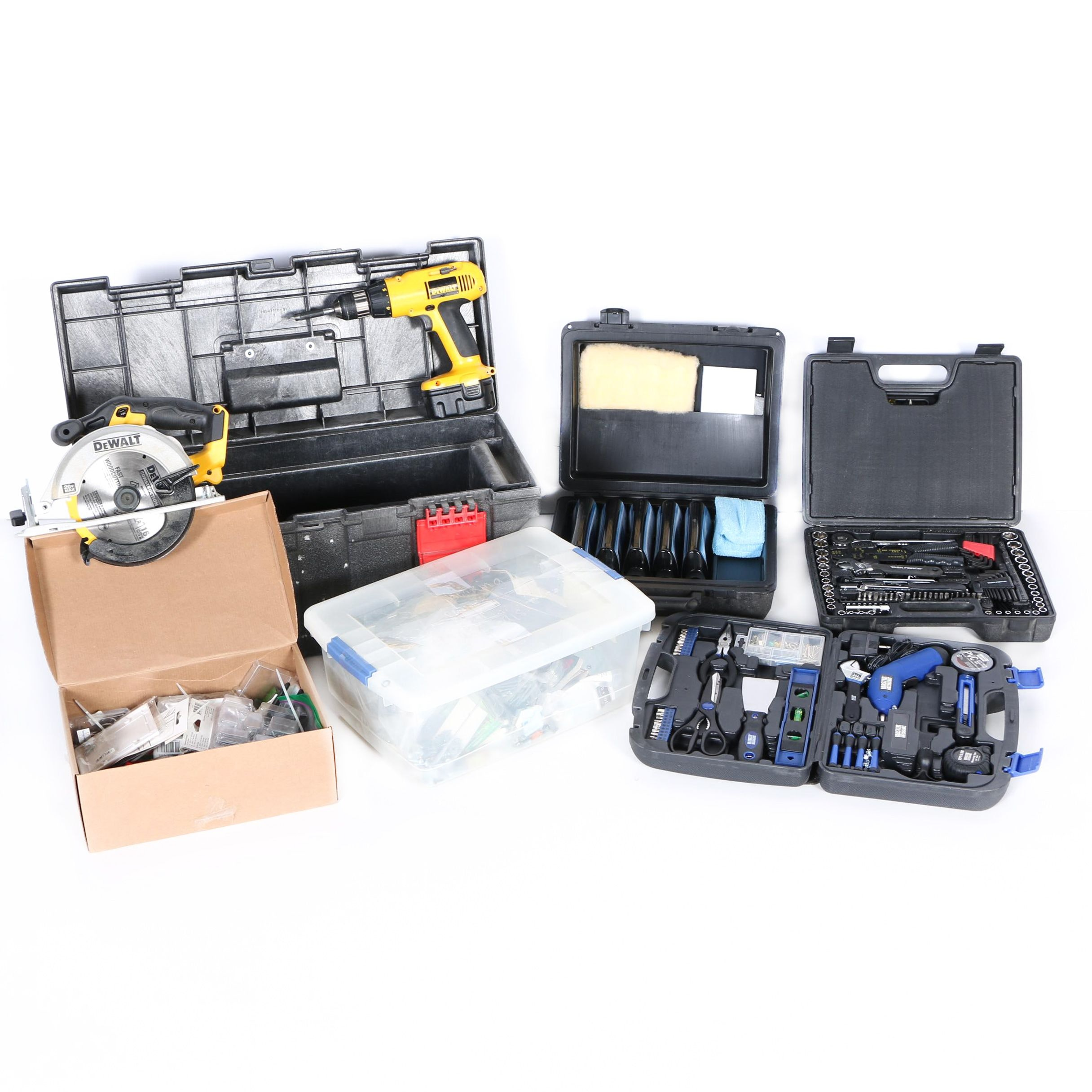 Assorted Sets of Tools and Hardware with Storage