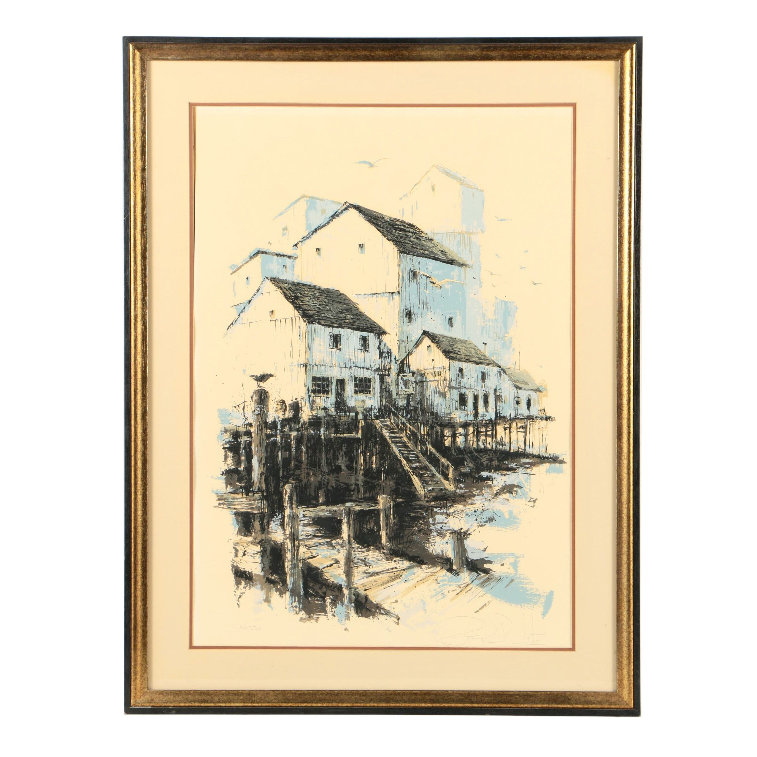 Limited Edition Serigraph on Paper of a Harbor Scene