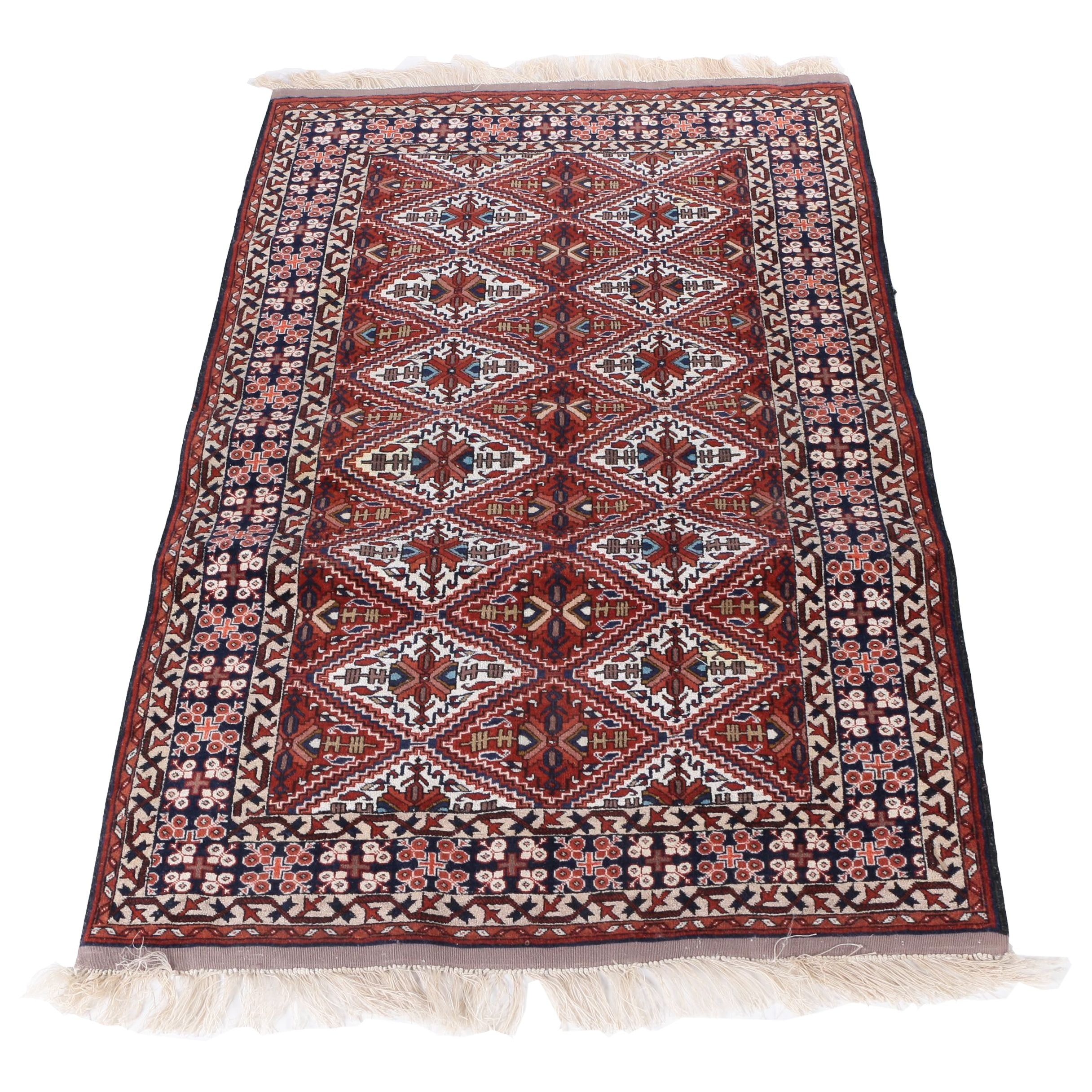 Hand-Knotted Turkmen Wool Accent Rug