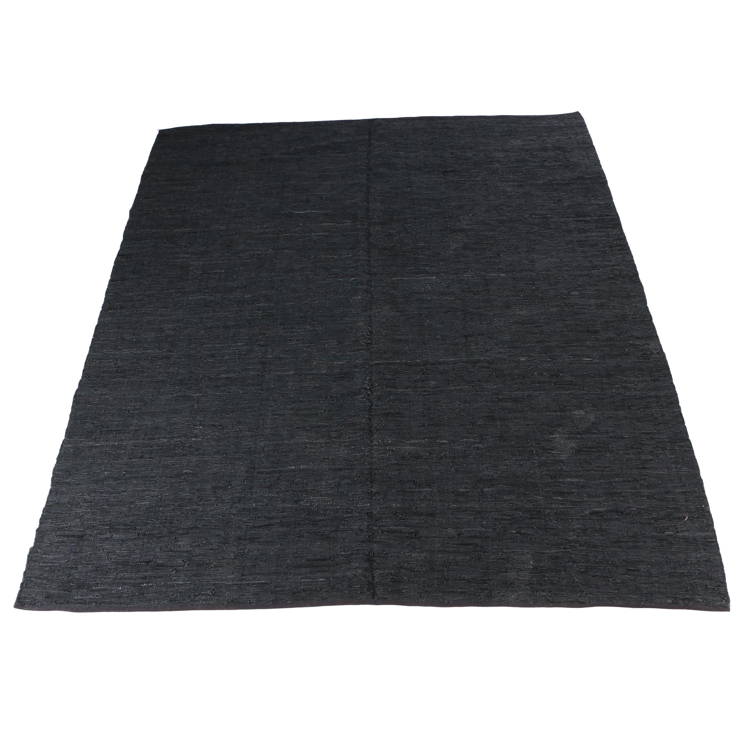 Handwoven Chindi Leather Area Rug