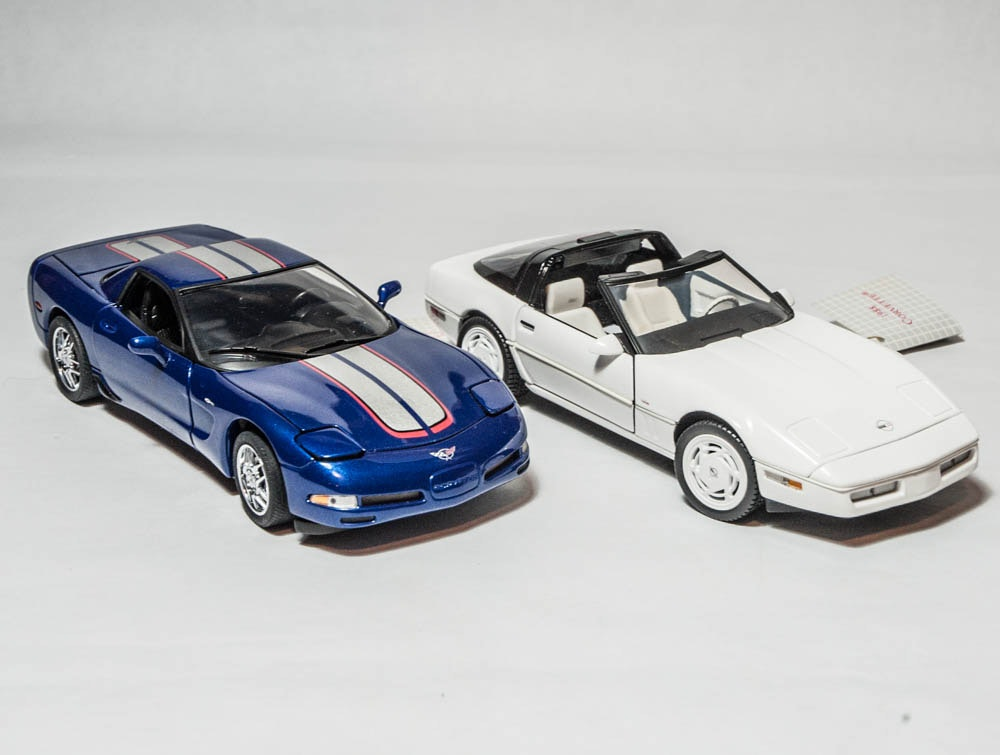 1988 Corvette and 2003 Commemorative Edition Die Cast Cars by The Franklin Mint