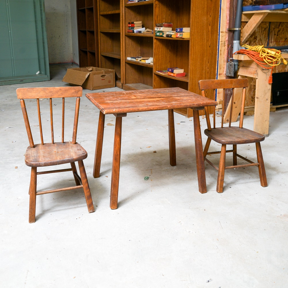 Windsor Style Child's Table and  Chairs by Paris Manufacturing Company