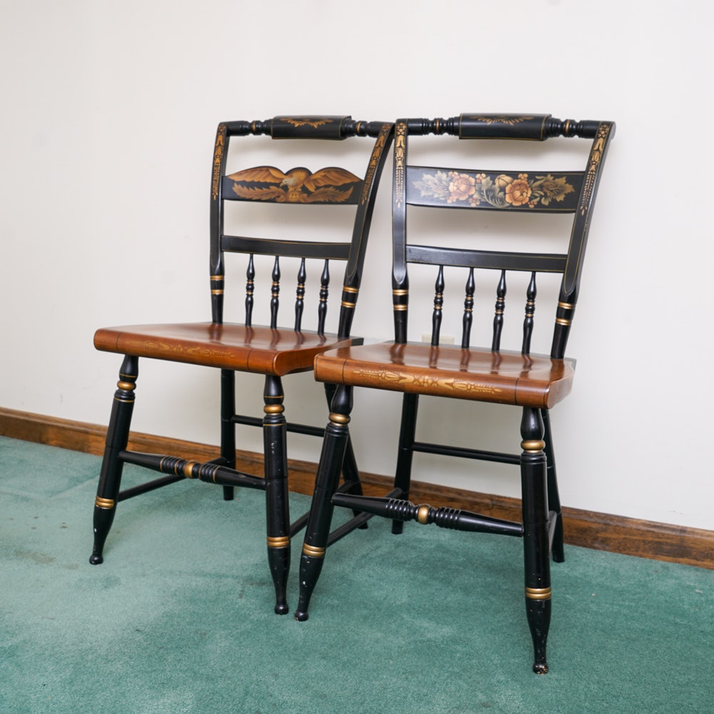 Pair of Sheraton Style Accent Chairs by L. Hitchcock