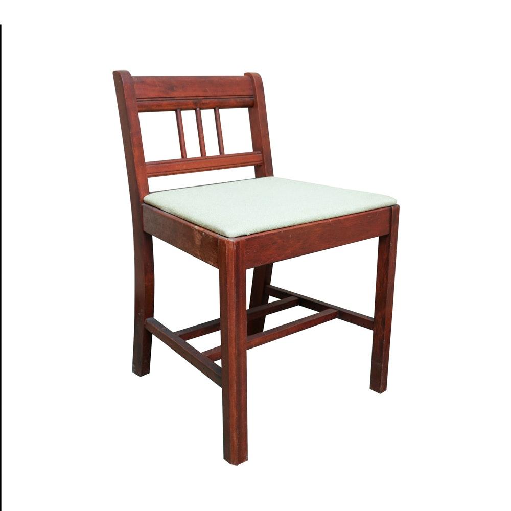 Vintage Desk  Chair With Vinyl Cushion