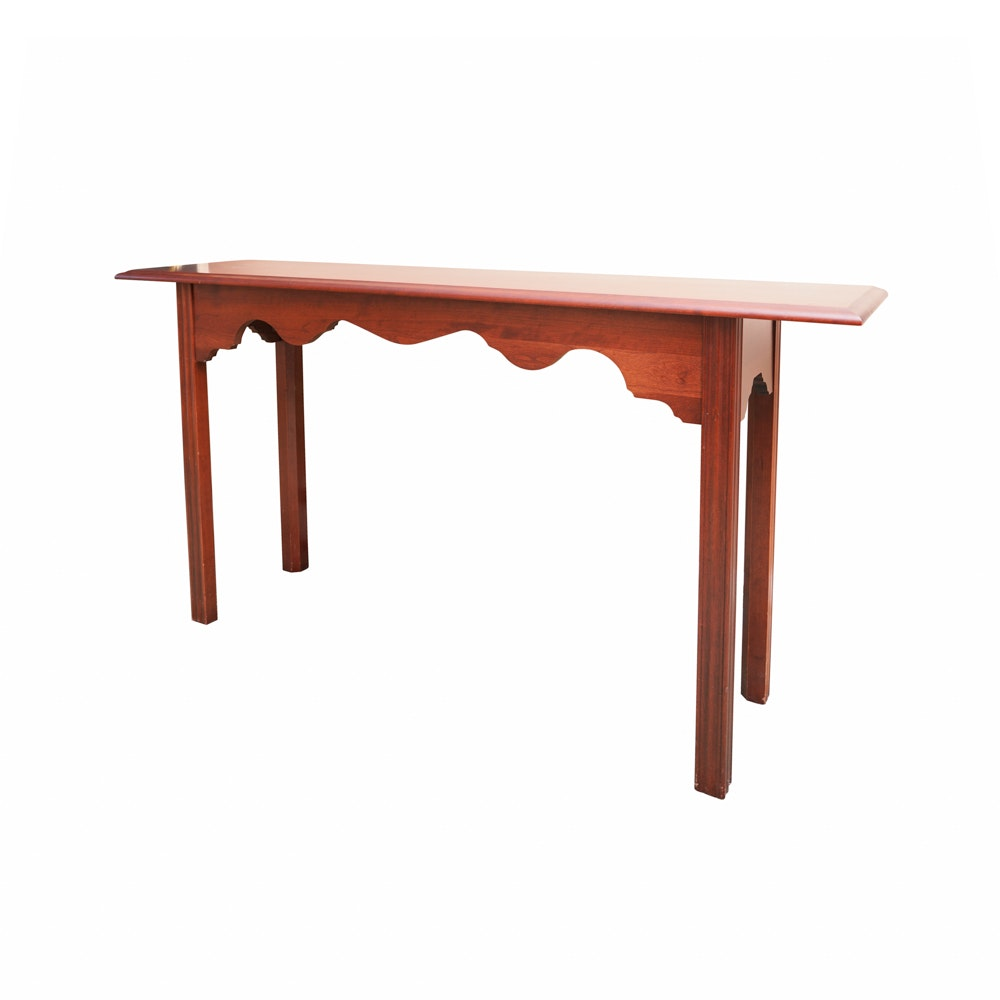 Mahogany Finished Console Table With Scalloped Apron
