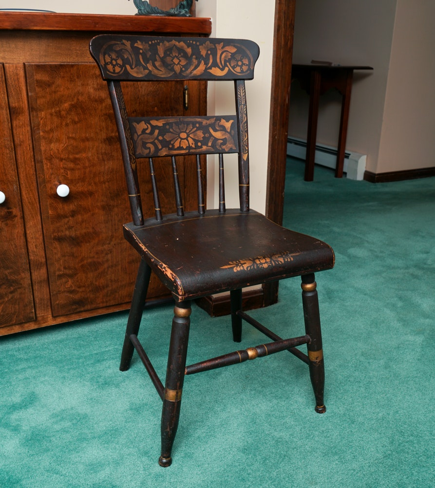 Antique Stenciled Side Chair