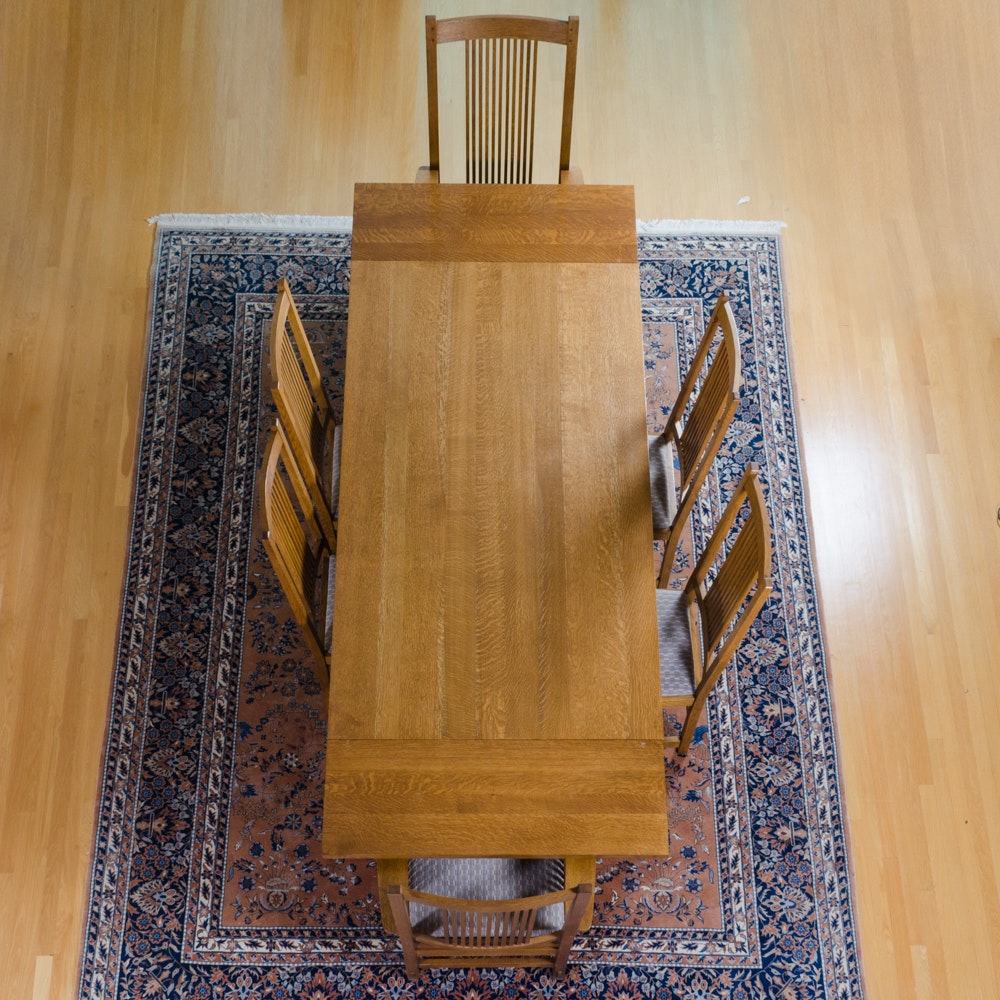 Arts and Crafts Style Oak Dining Table and Six Chairs by Stickley