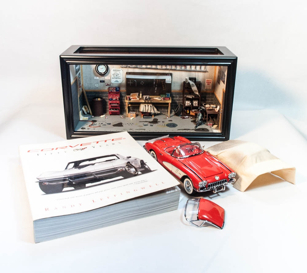 """""""The Garage"""" with 1958 Corvette Die Cast Cars by The Franklin Mint"""