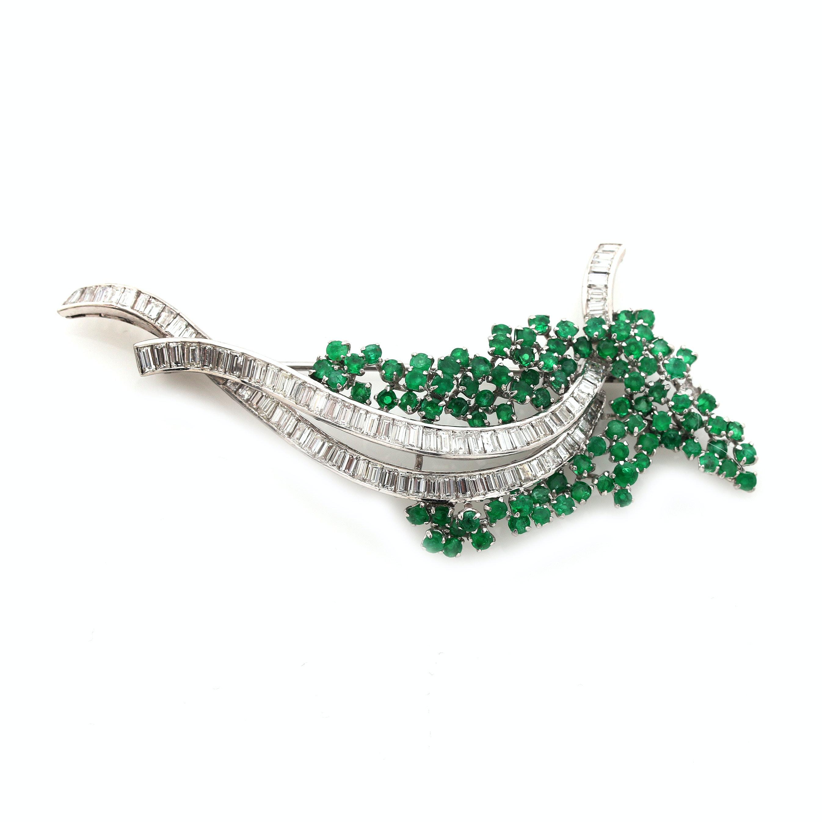 Platinum Emerald and 3.75 CTW Diamond Brooch