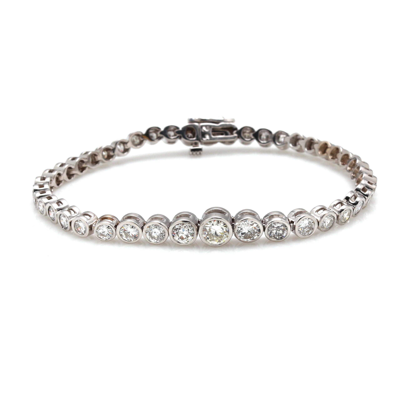 14K White Gold 5.46 CTW Diamond Bracelet
