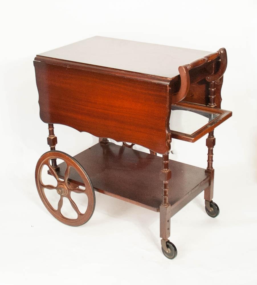Drop Leaf Vintage Wood Tea Cart