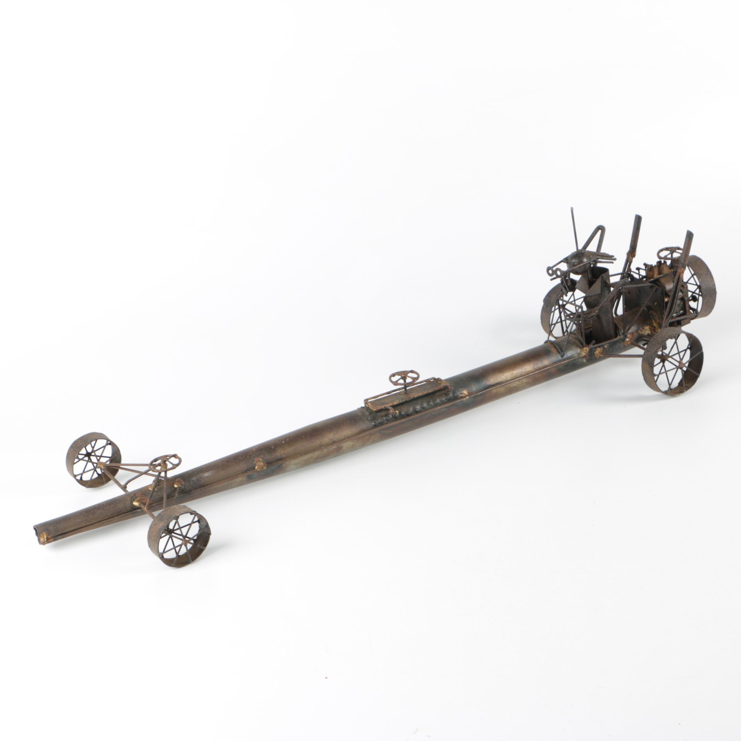 Brass Tone Race Car Sculpture