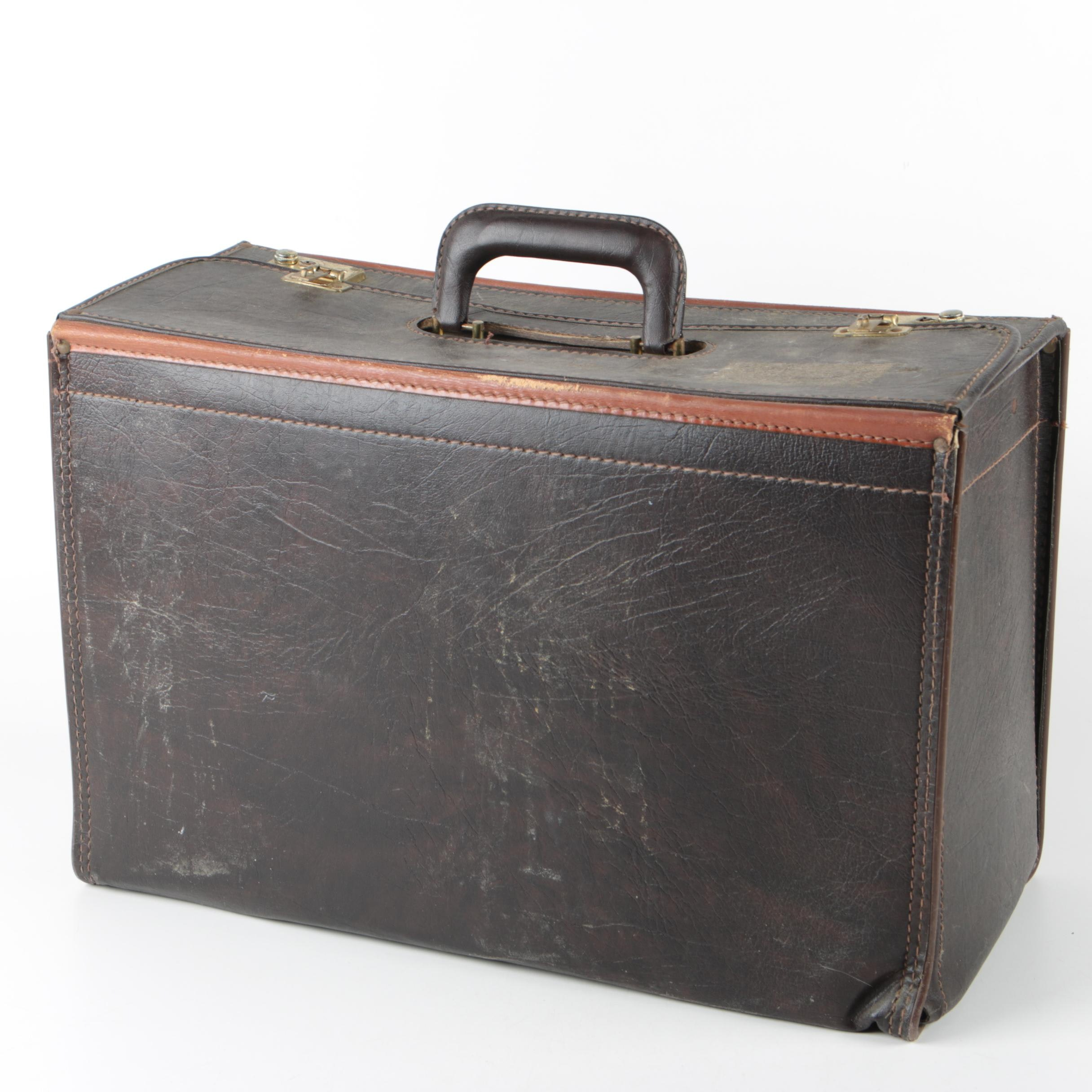 Vintage Leather Briefcase with Blue Star Leather Portfolio