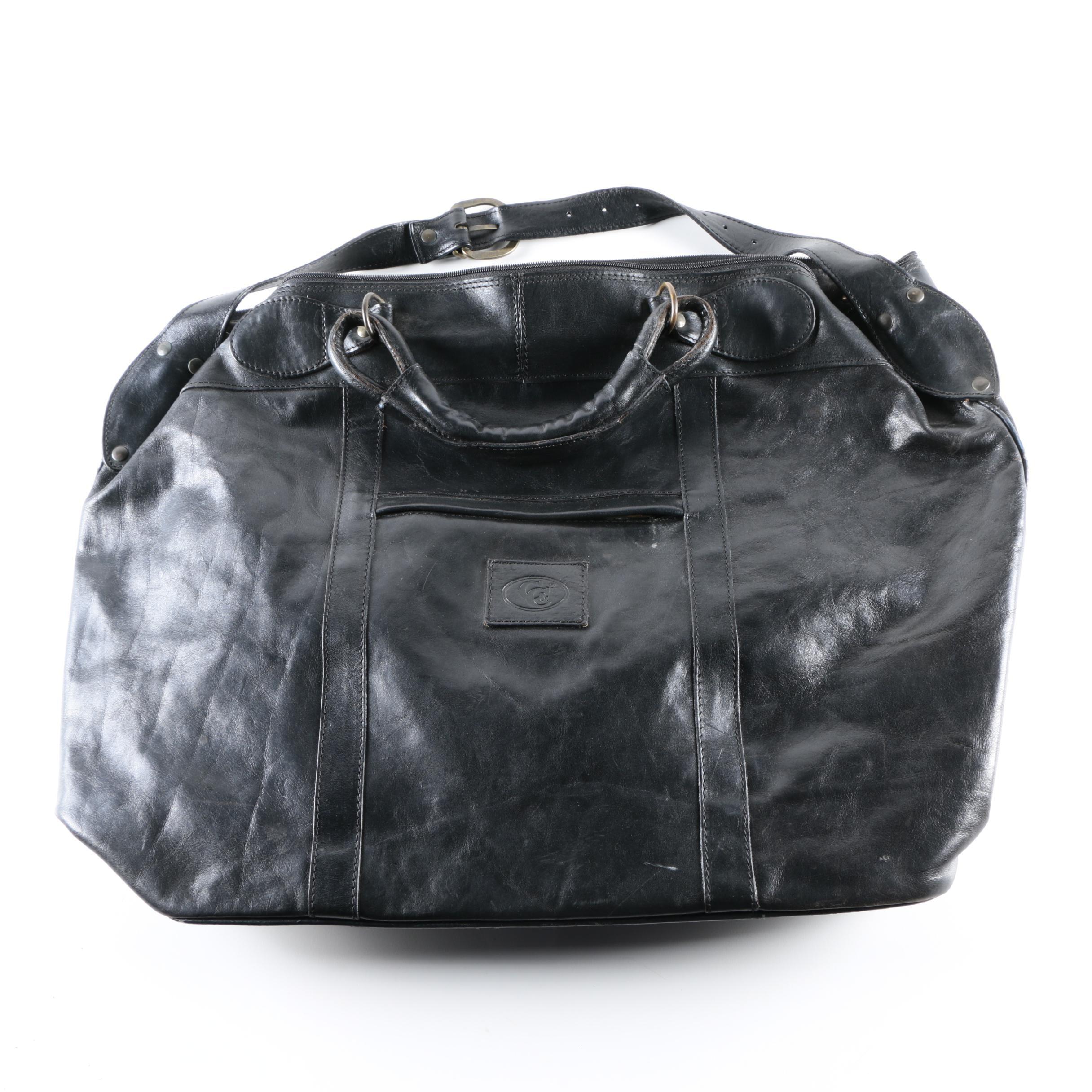 C&C Black Leather Overnight Bag