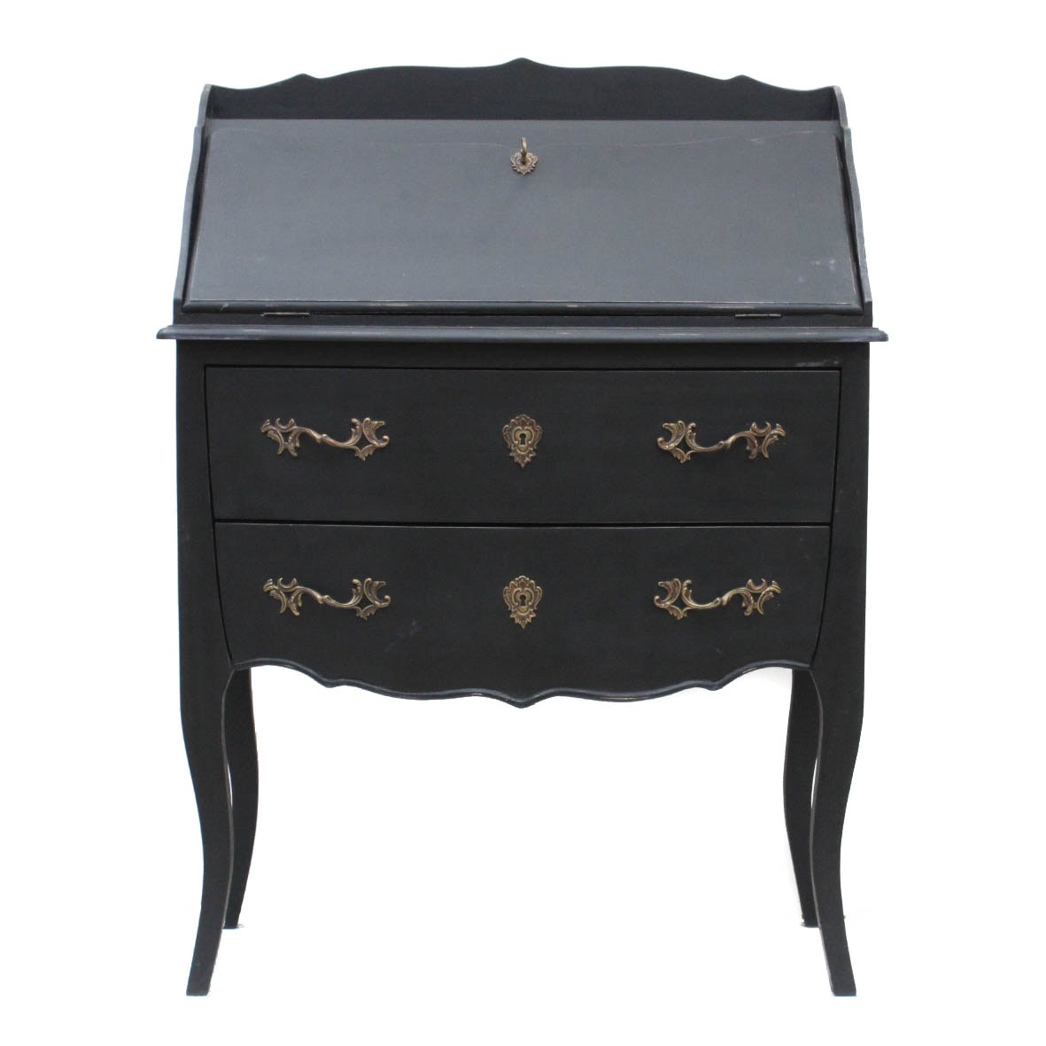 Painted Wooden Chest with Drop Front Desk