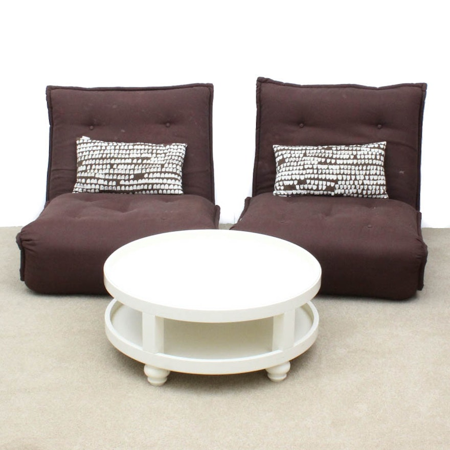 Pottery Barn Round Side Table And Convertible Flip Chairs EBTH - Pottery barn round side table