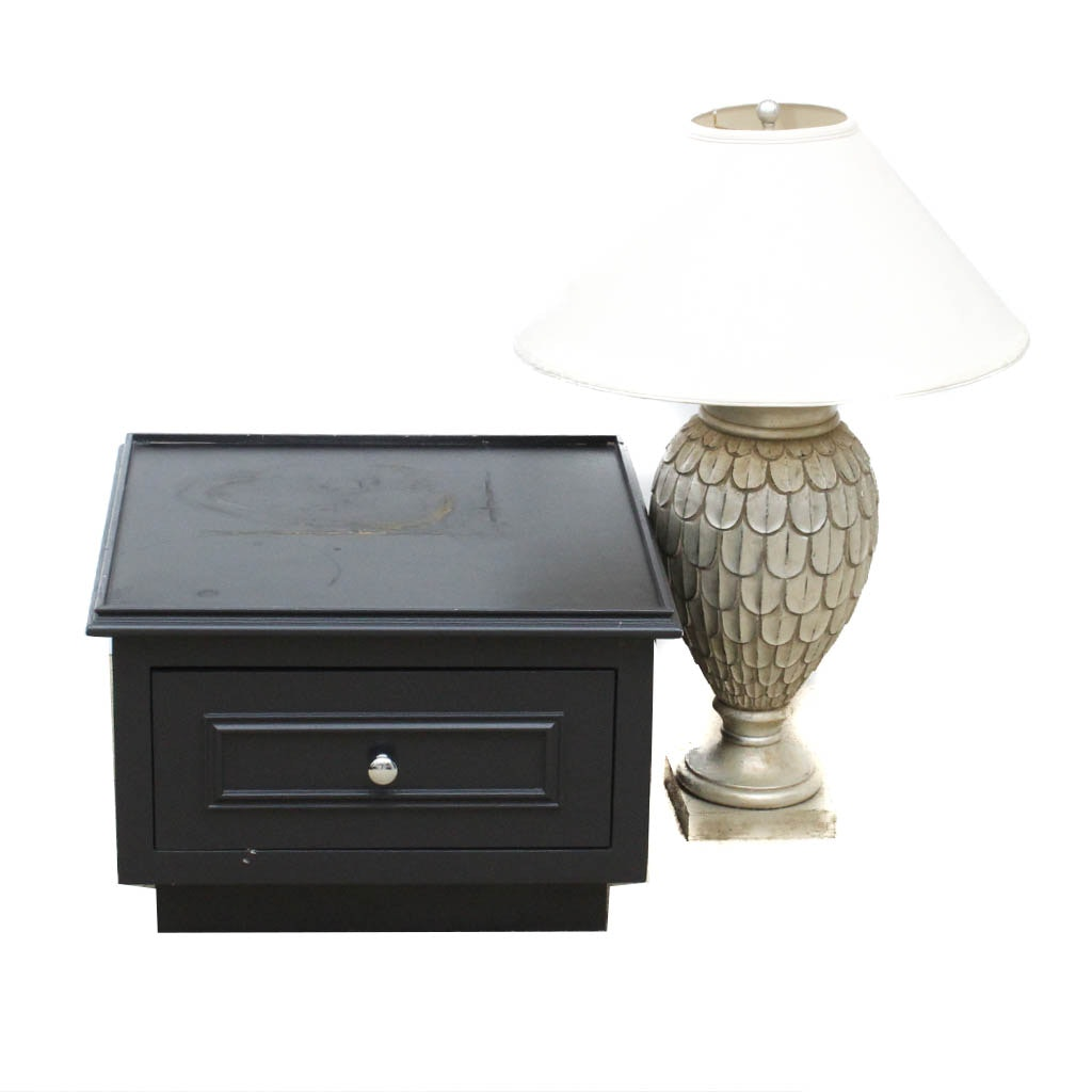 Side Table and Lamp