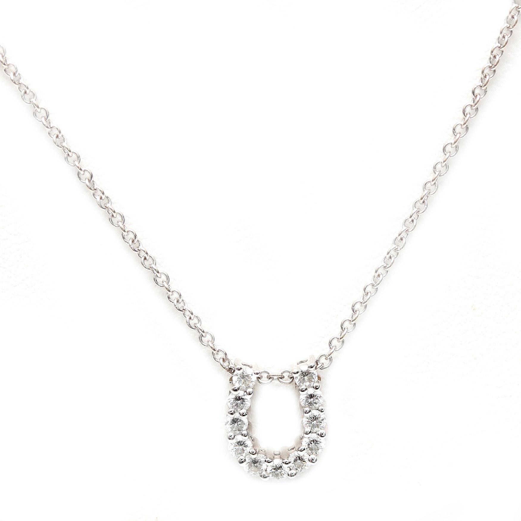 18K White Gold Diamond Horseshoe Pendant Necklace