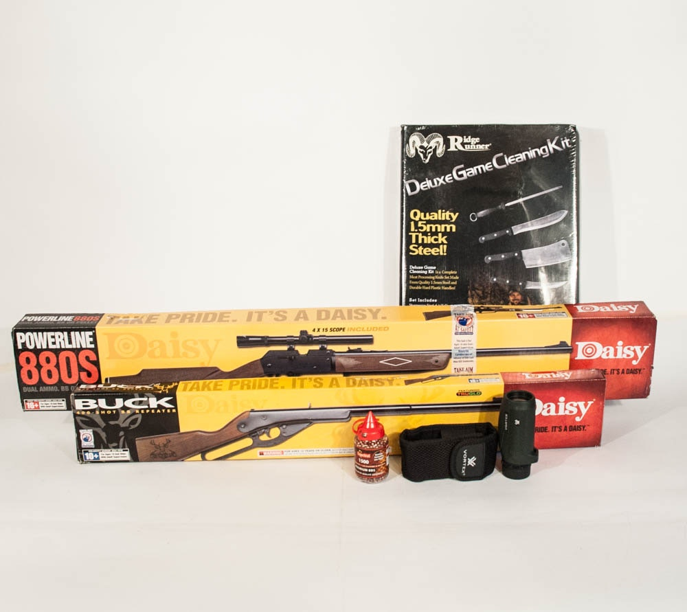 Daisy Buck 400 & Powerline 880S BB Air Rifles + Deluxe Game Cleaning Kit & Scope