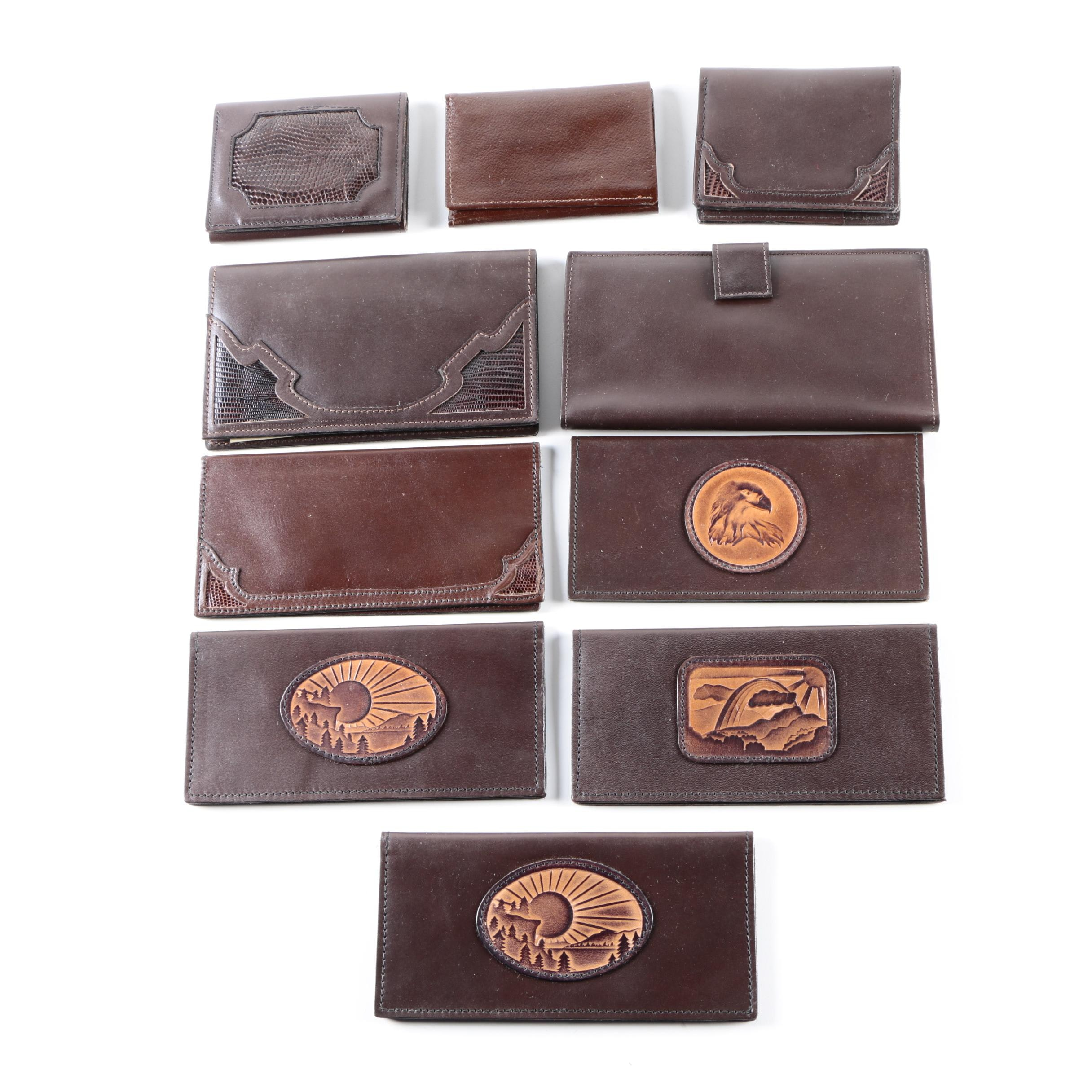 Vintage Dark Leather Wallets Featuring Indiana Leather