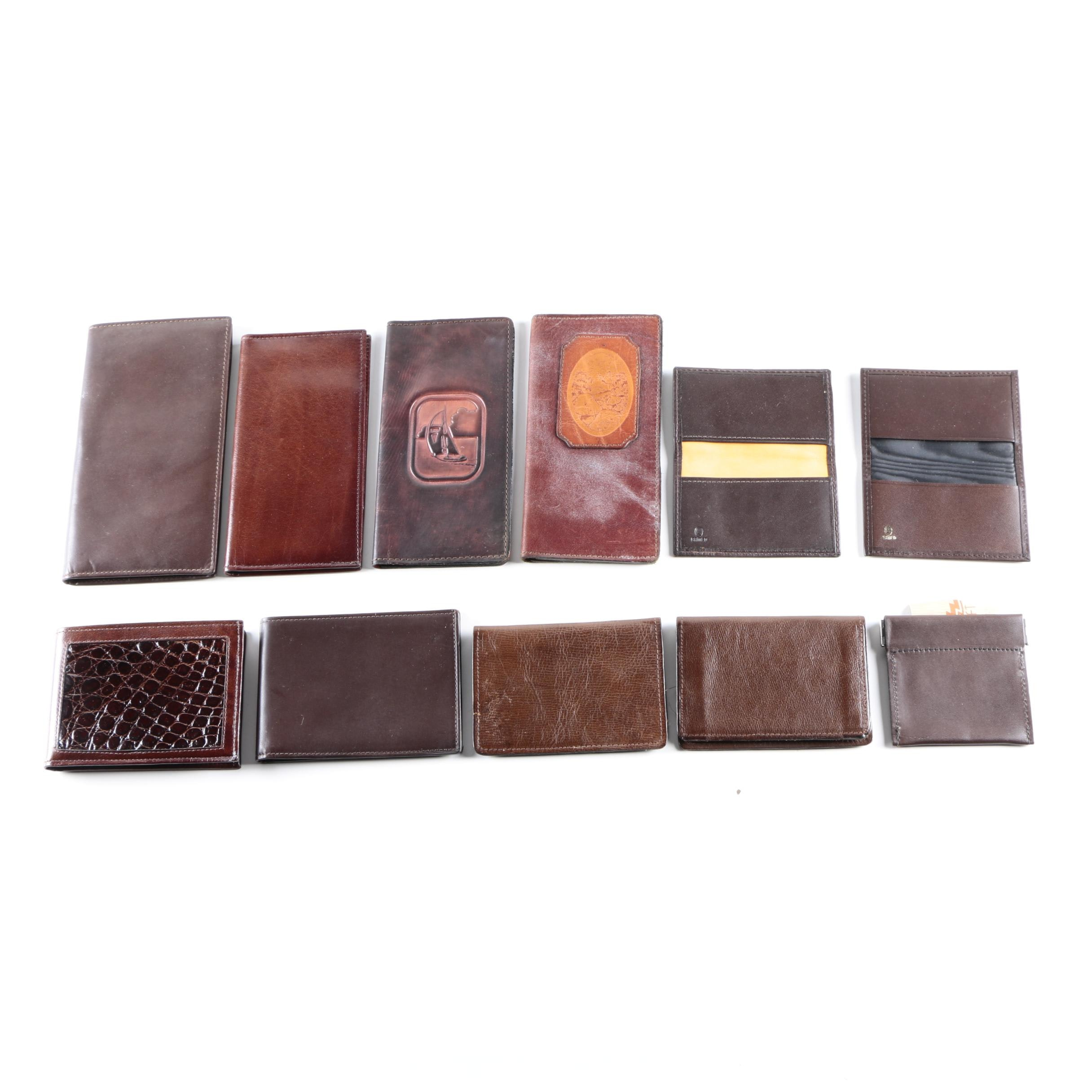 Brown Leather Wallet Collection Including Vintage